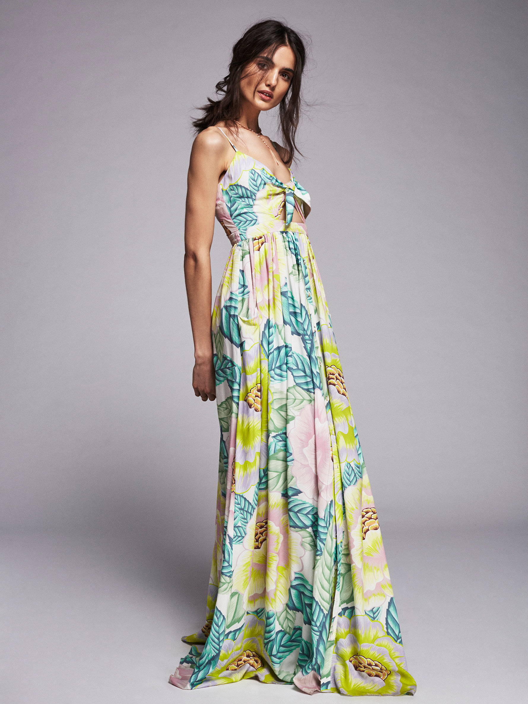 0e58fea17a Free People Tie Front Maxi - Lyst