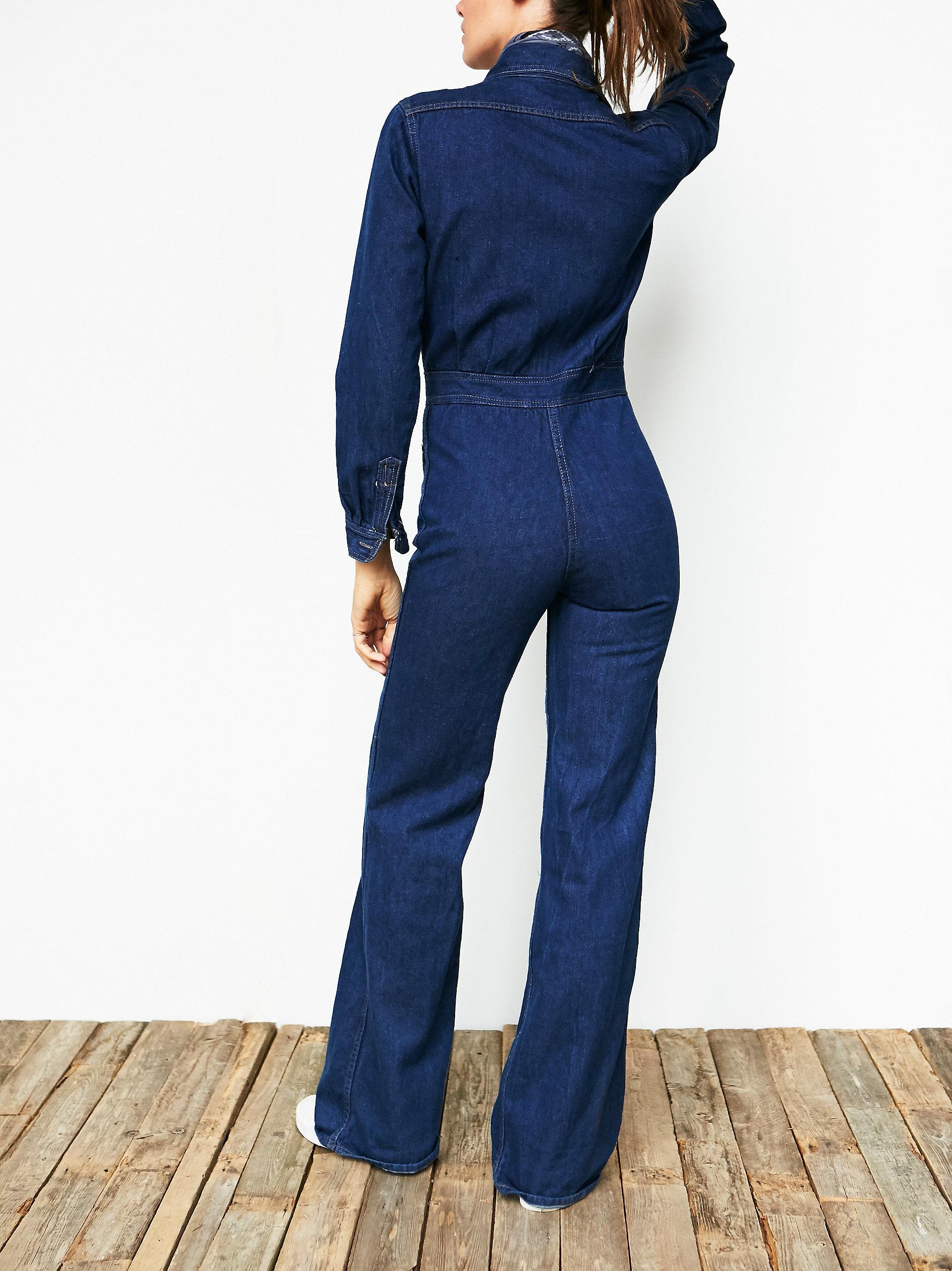 91eac94b4a3 Lyst - Free People Vintage 1970s Denim Jumpsuit in Blue