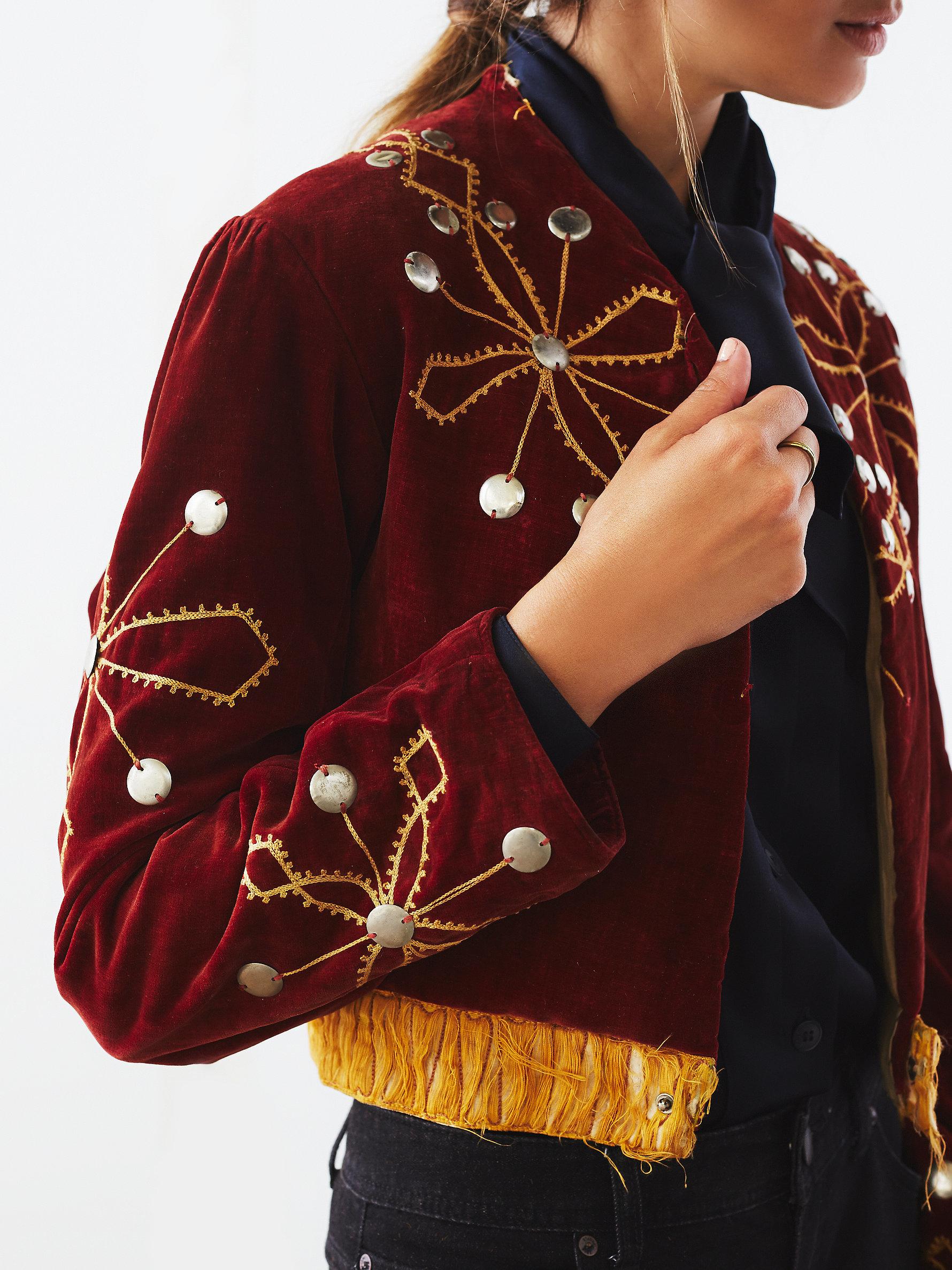 Embroidered leather jacket free people makaroka
