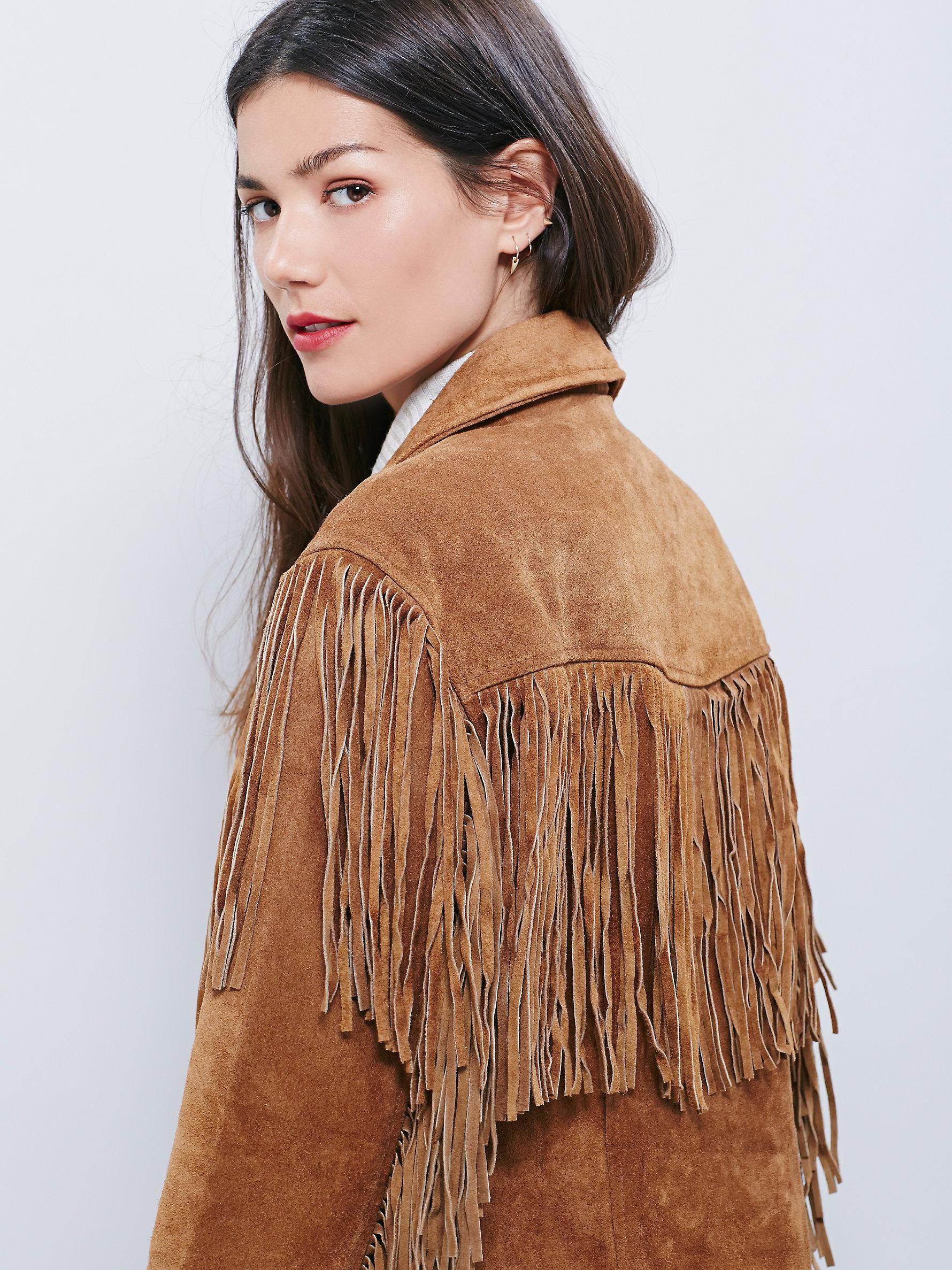 Free people Western Tan Fringe Jacket in Brown | Lyst