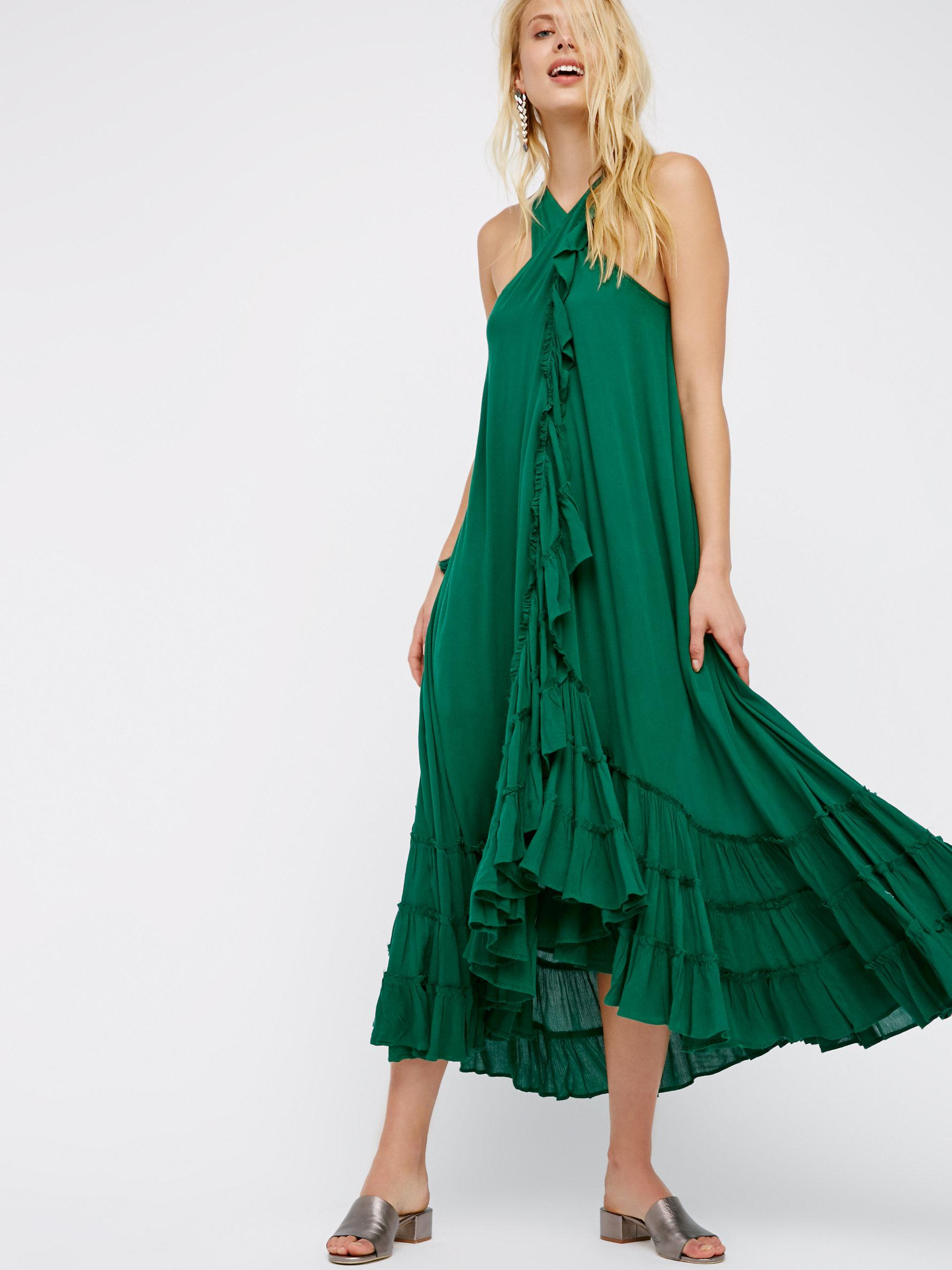 Free People Wrap Around Maxi Dress In Green Lyst