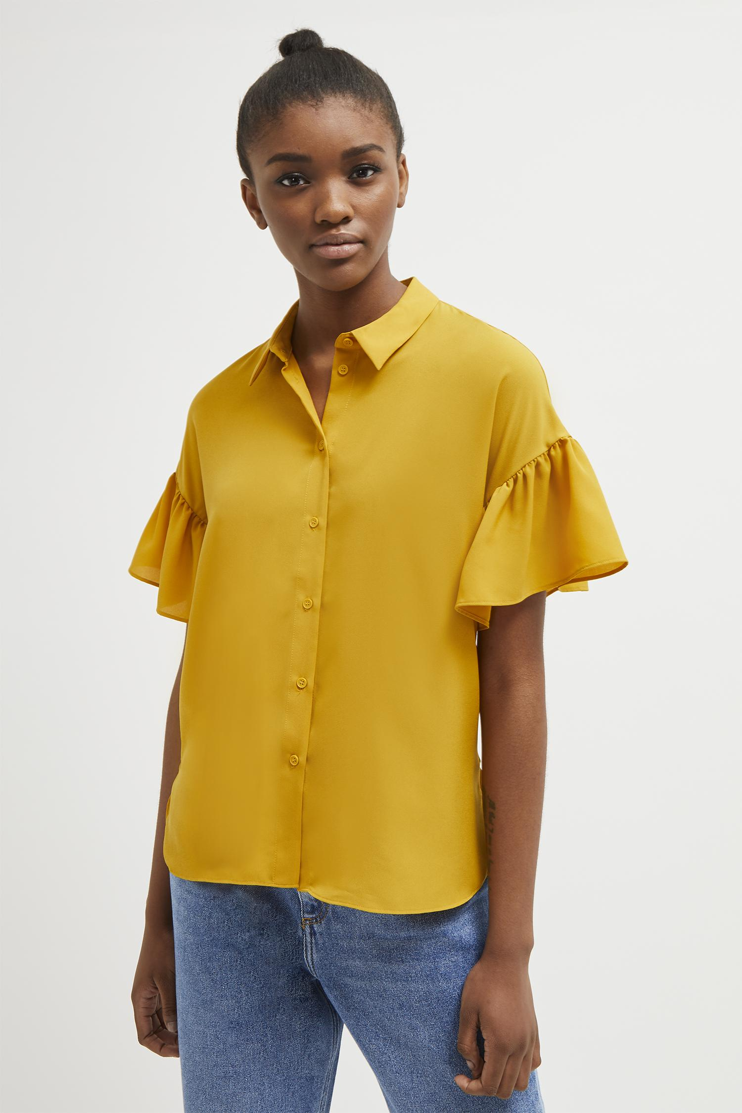 dc1f066e730 Lyst - French Connection Crepe Light Ruffle Sleeve Shirt in Yellow ...