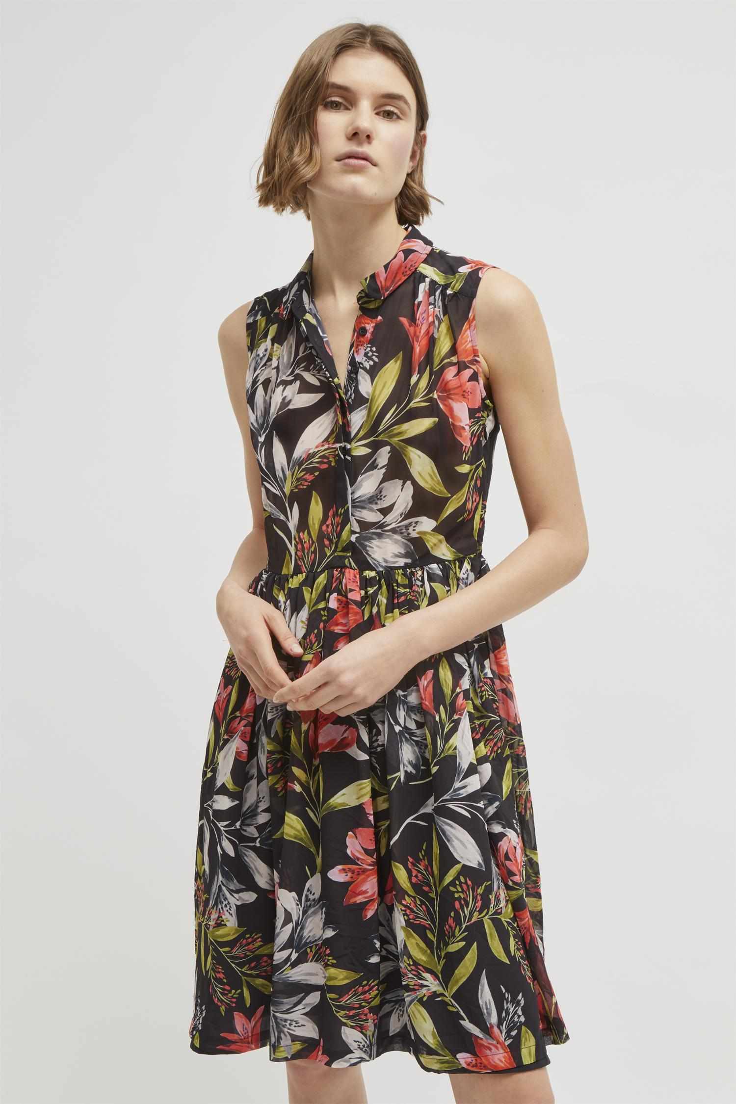 French Connection Cadencia Drape Floral Shirt Dress In