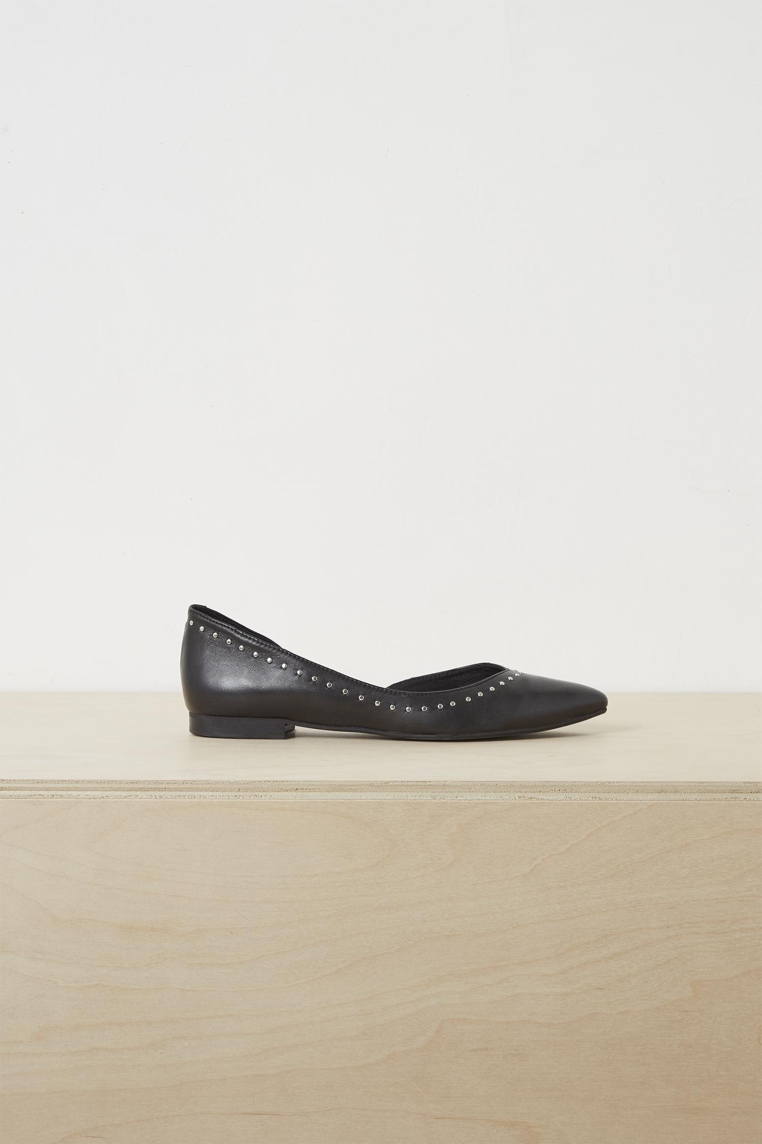 720fc2b7a81 French Connection - Black Verenna Stud Cut Out Ballet Flats - Lyst. View  fullscreen
