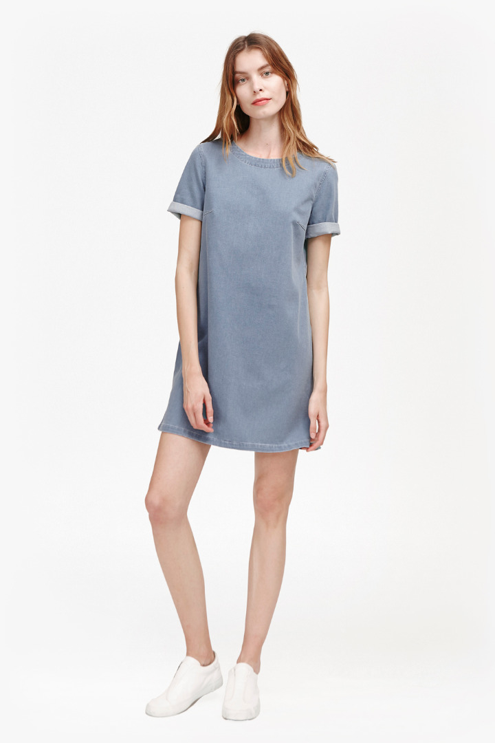 Lyst french connection dina denim t shirt dress in blue for French connection t shirt dress