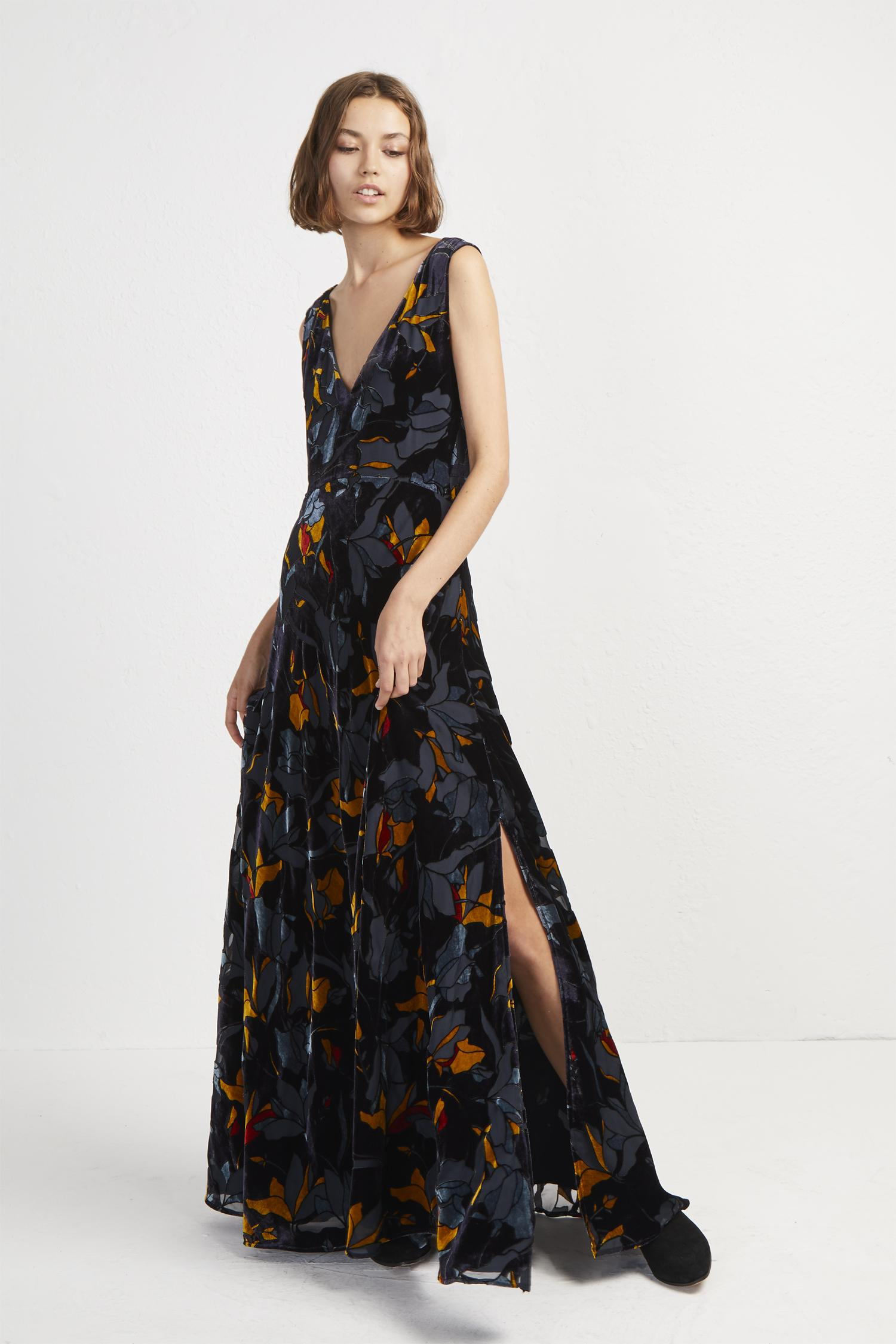1a2f6638d3 French Connection Aventine Velvet Maxi Dress in Blue - Lyst