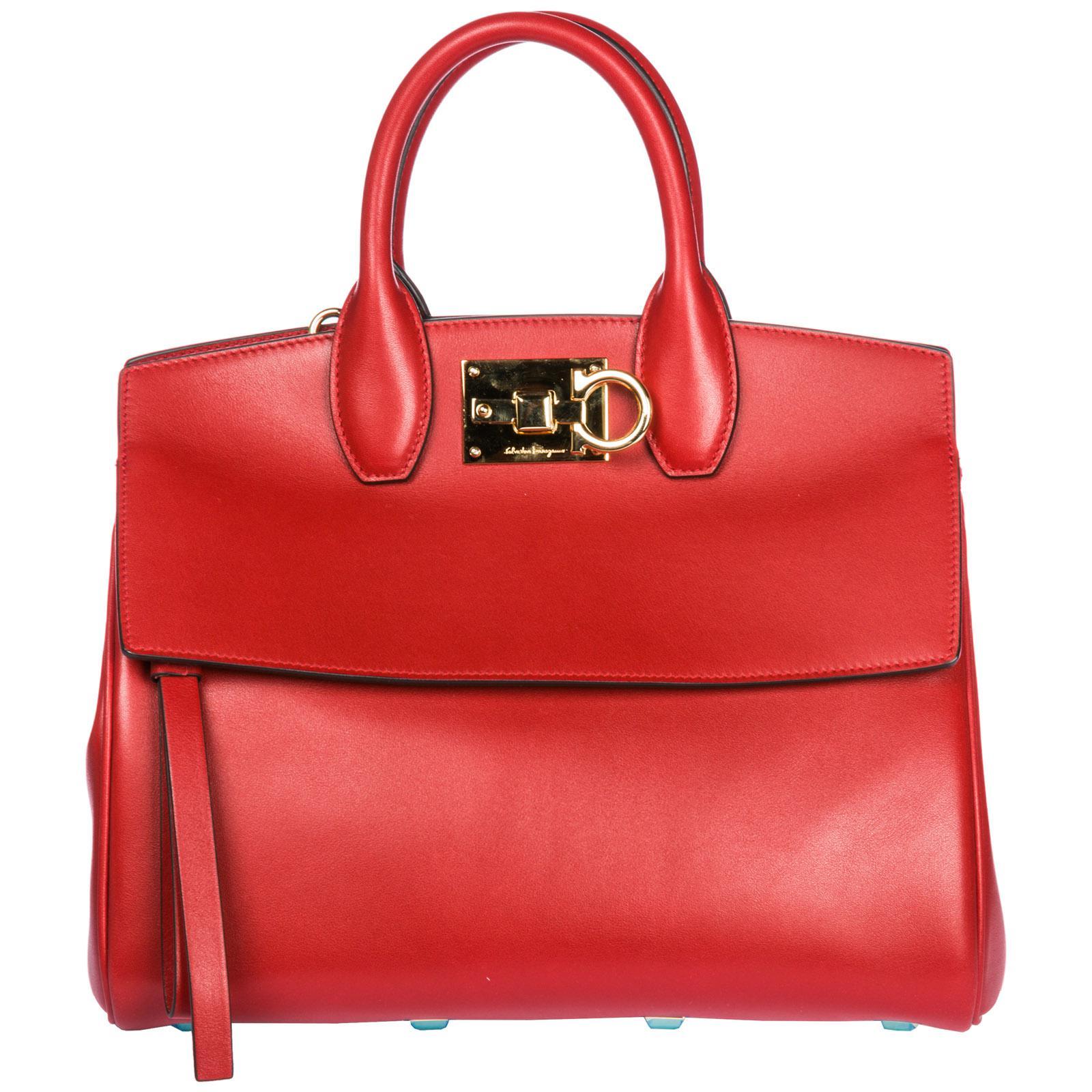 7bf1797a3b9f Ferragamo Leather Handbag Shopping Bag Purse Studio Bag in Red - Lyst