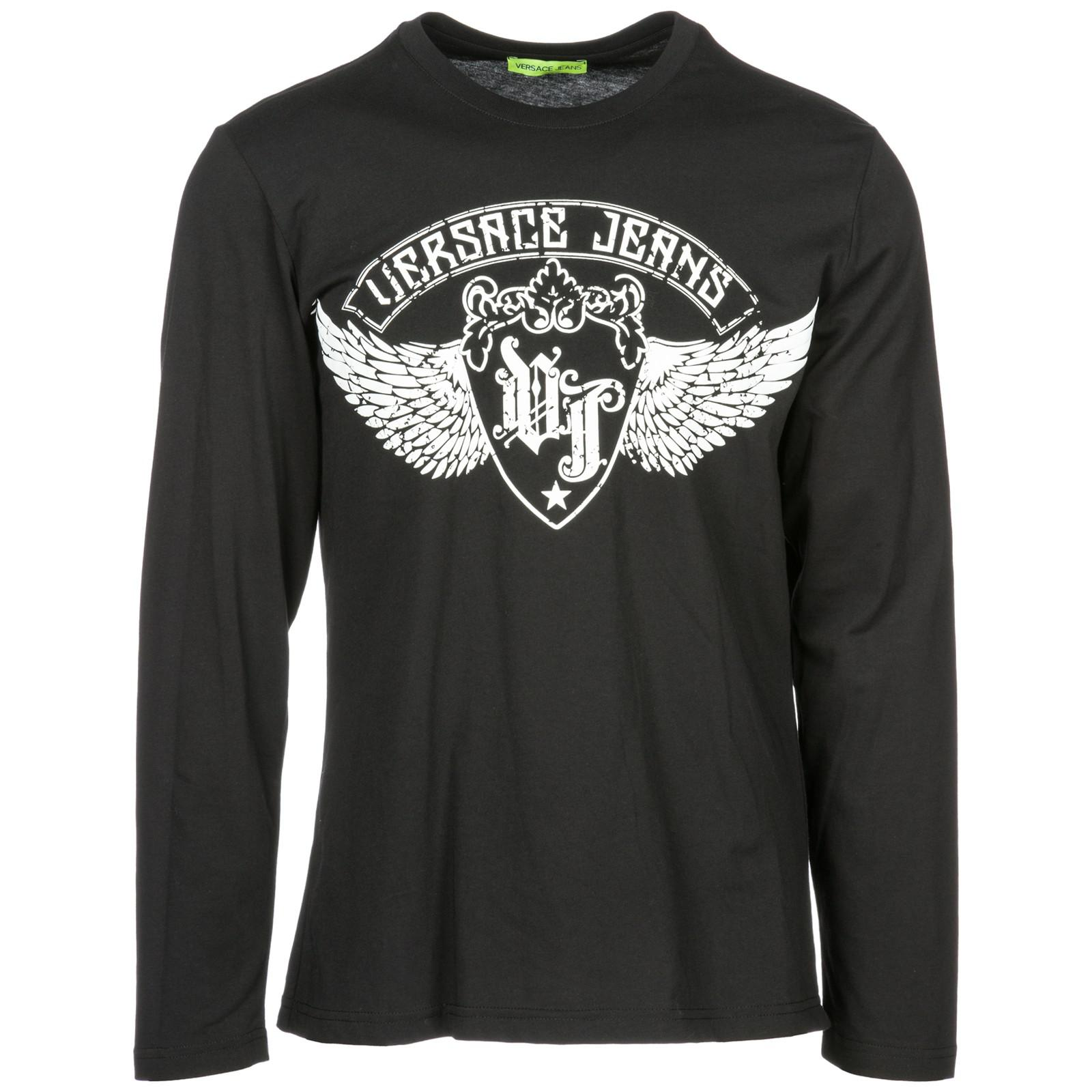 f2049afd Versace Jeans - Black Long Sleeve T-shirt Crew Neckline for Men - Lyst.  View fullscreen