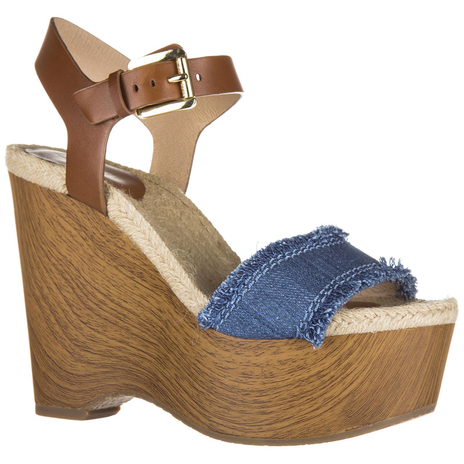 bfbf8faf31a Michael Kors - Blue Leather Shoes Wedges Sandals Leni - Lyst. View  fullscreen