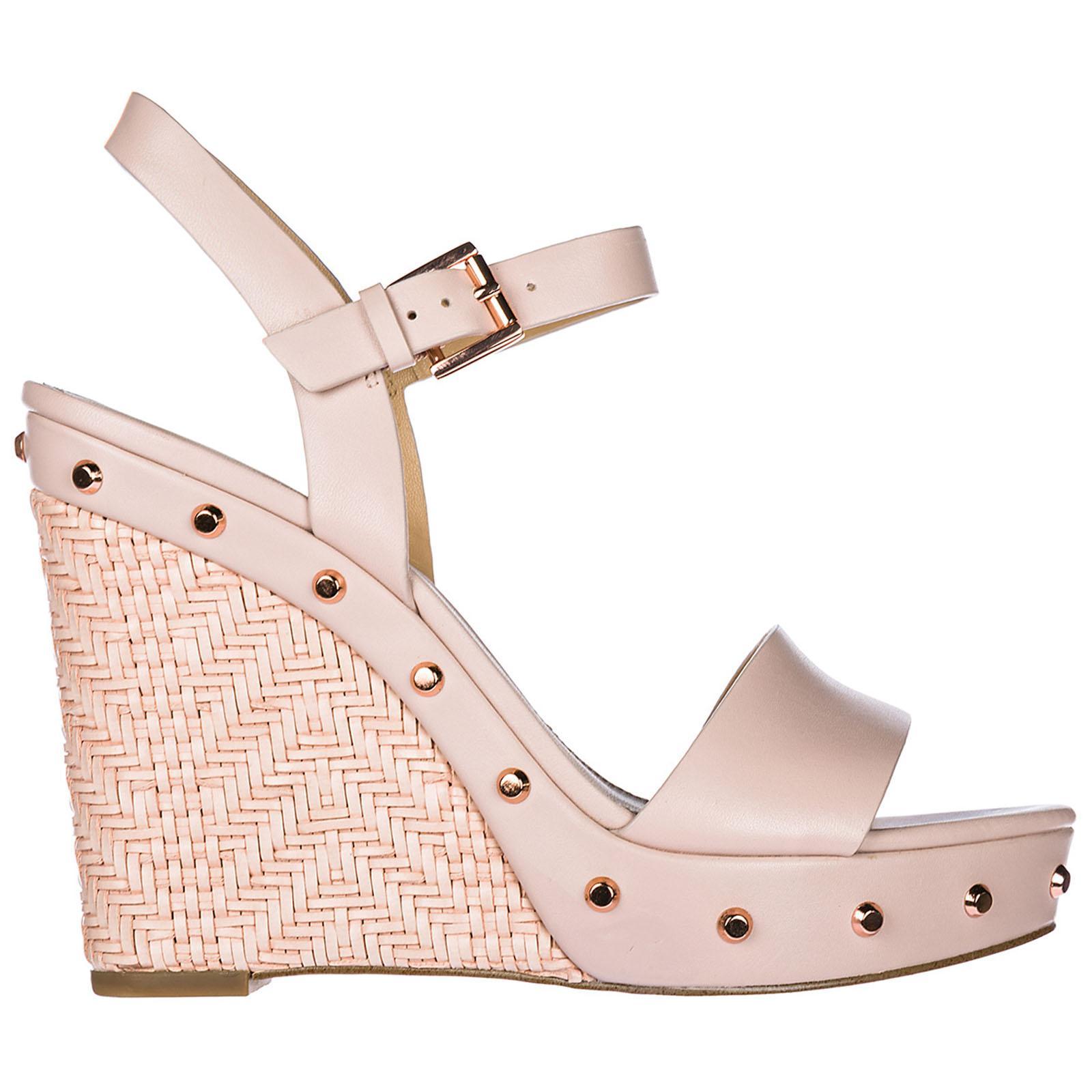 277974f4fe Michael Kors Leather Shoes Wedges Sandals Ellen in Pink - Lyst