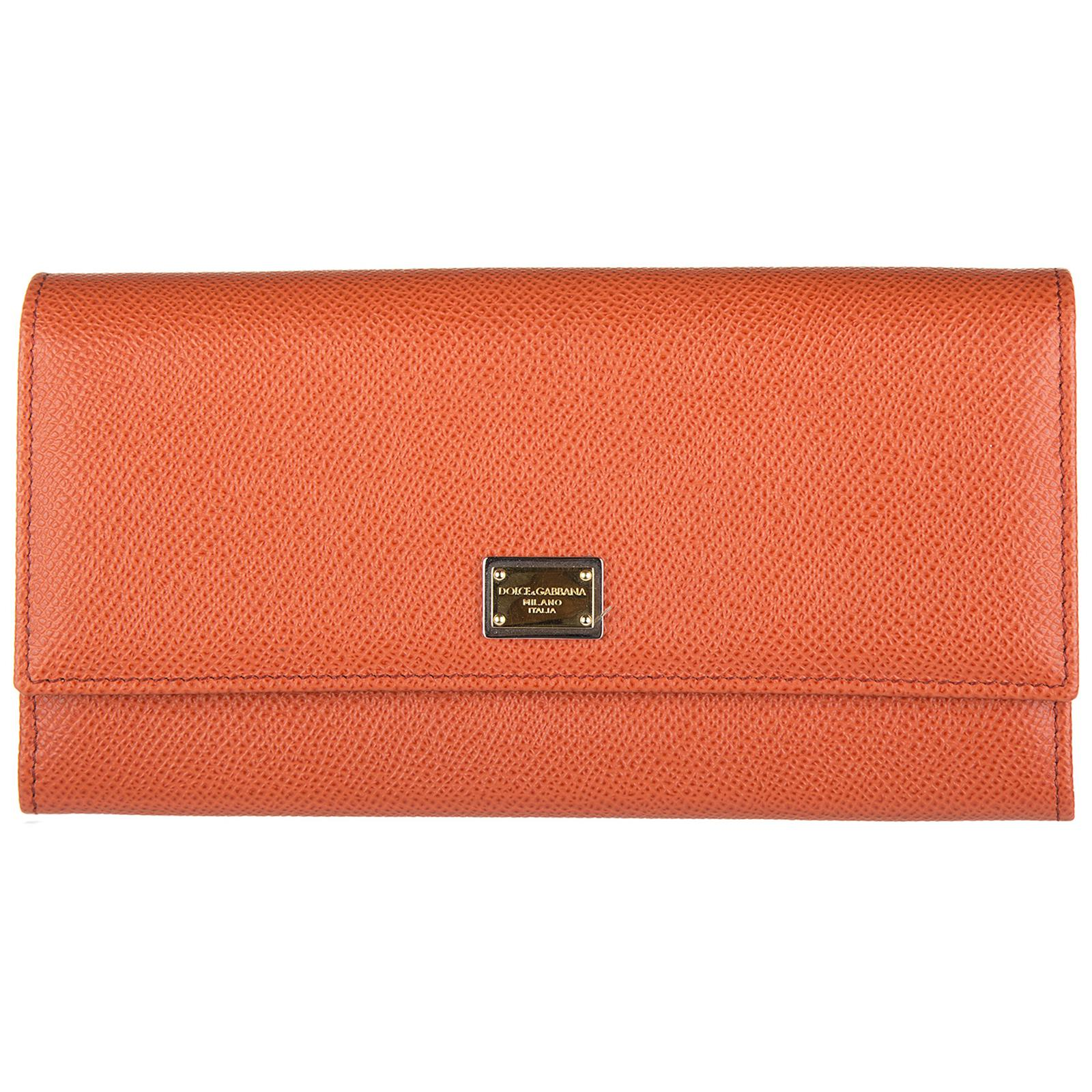 dd38b9253519 Dolce & Gabbana. Women's Orange Wallet Genuine Leather Coin Case Holder  Purse Card Bifold