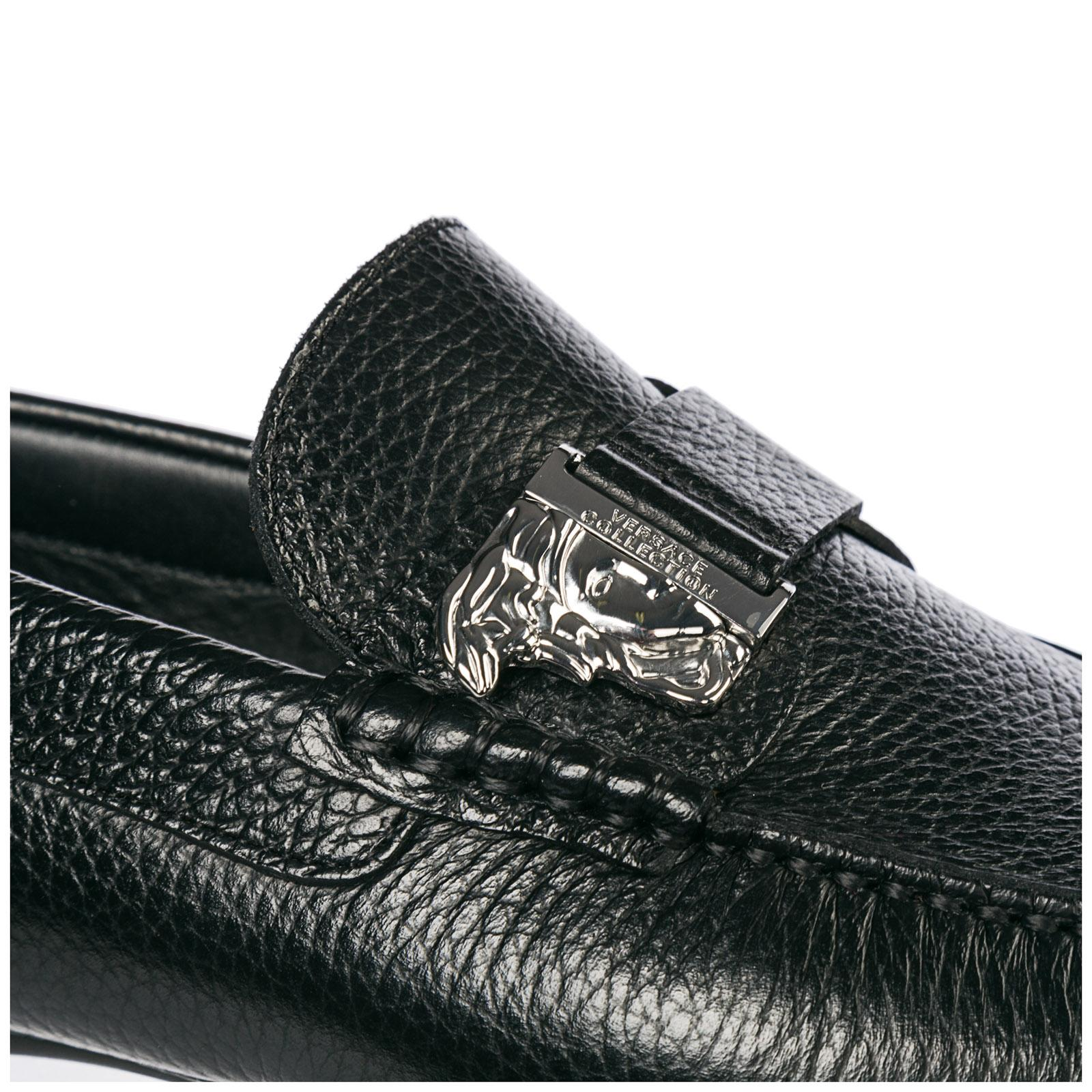 b7bf72572a8 Versace - Black Leather Loafers Moccasins Medusa for Men - Lyst. View  fullscreen