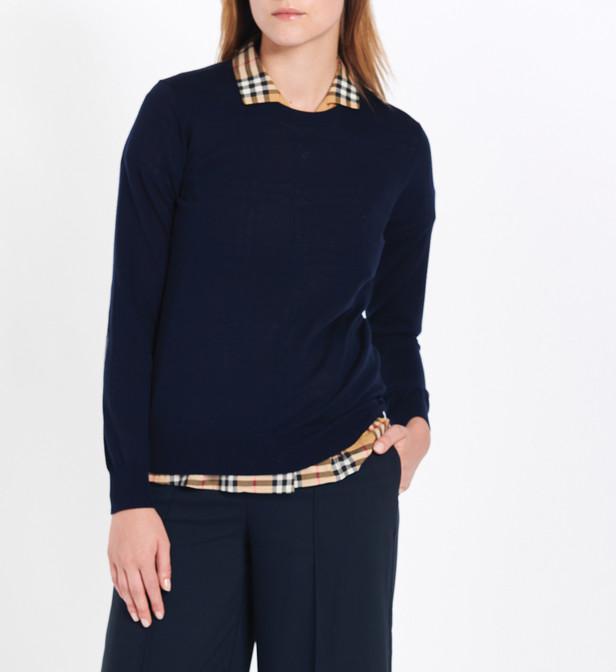 9f4a8d354822d Lyst - Pull femme en laine mérinos avec détails check Burberry en ...