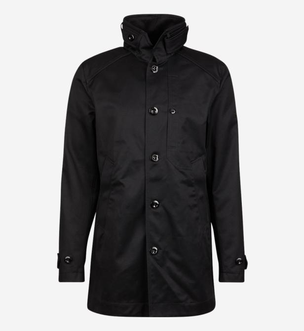 G-Star RAW. Manteau long en twill de coton à col montant homme de coloris  noir 3337f8388da7