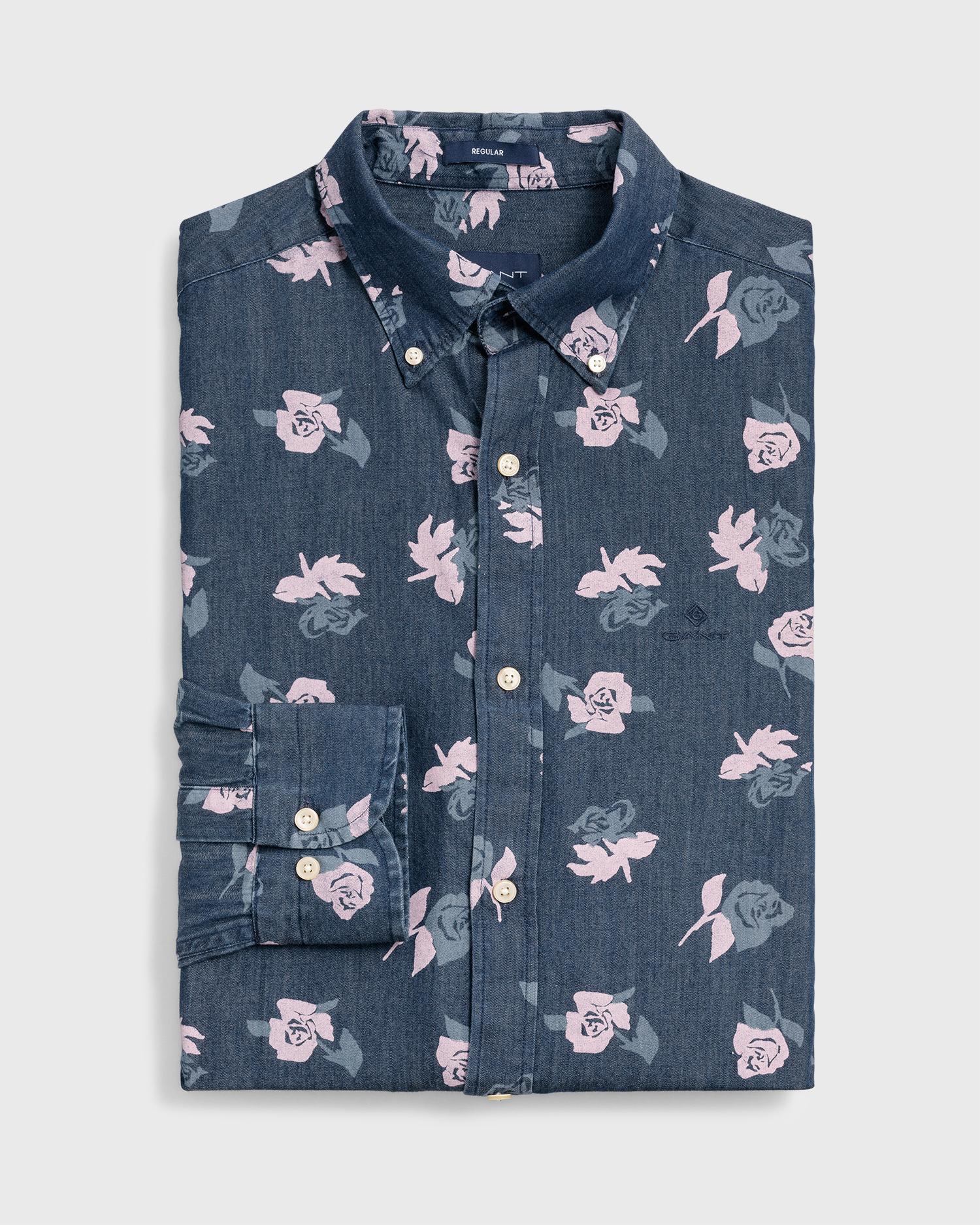292a5c2909b GANT Regular Fit Rose Chambray Shirt in Blue for Men - Lyst