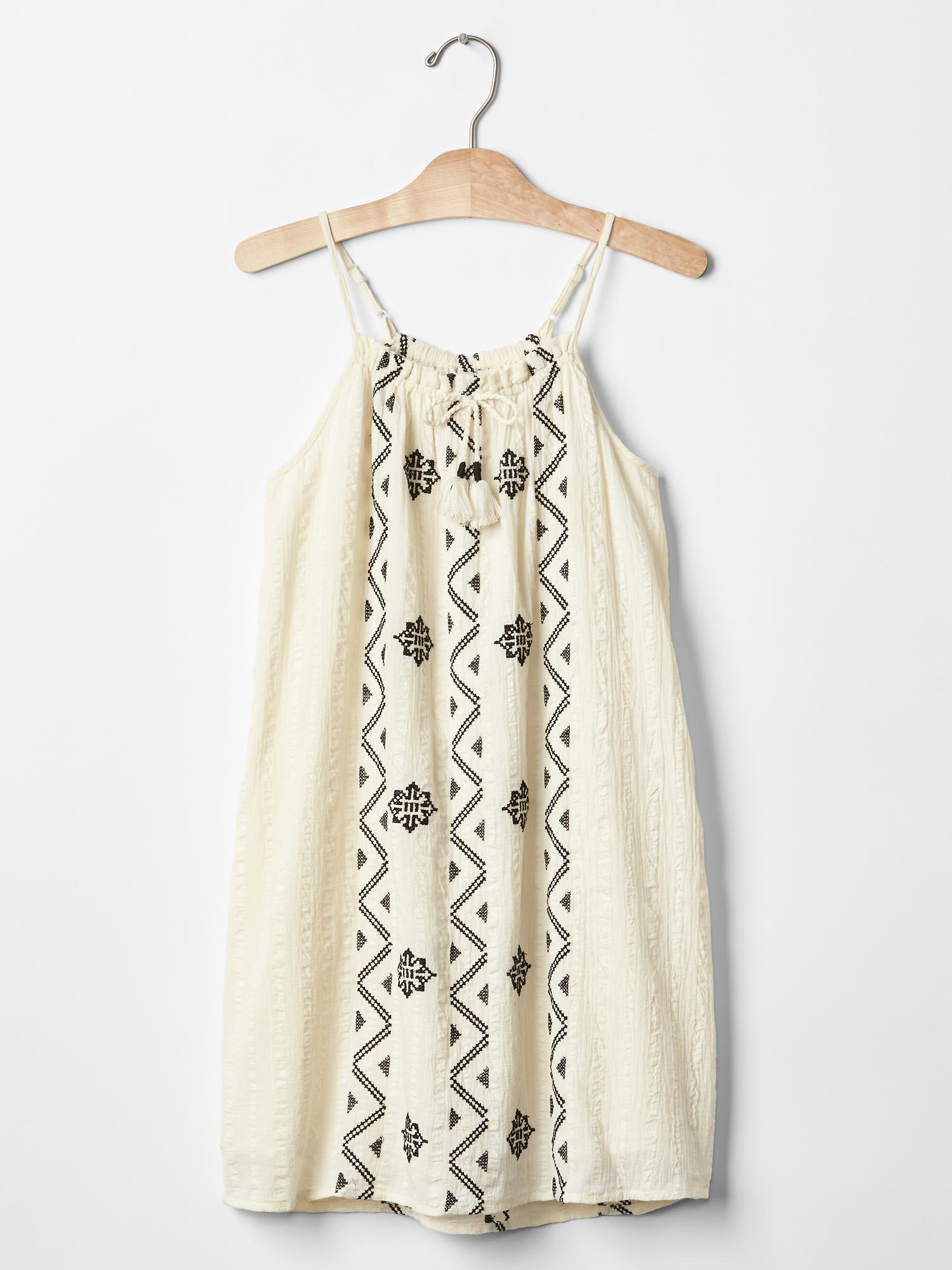 Gap embroidered strap dress in beige ivory frost save