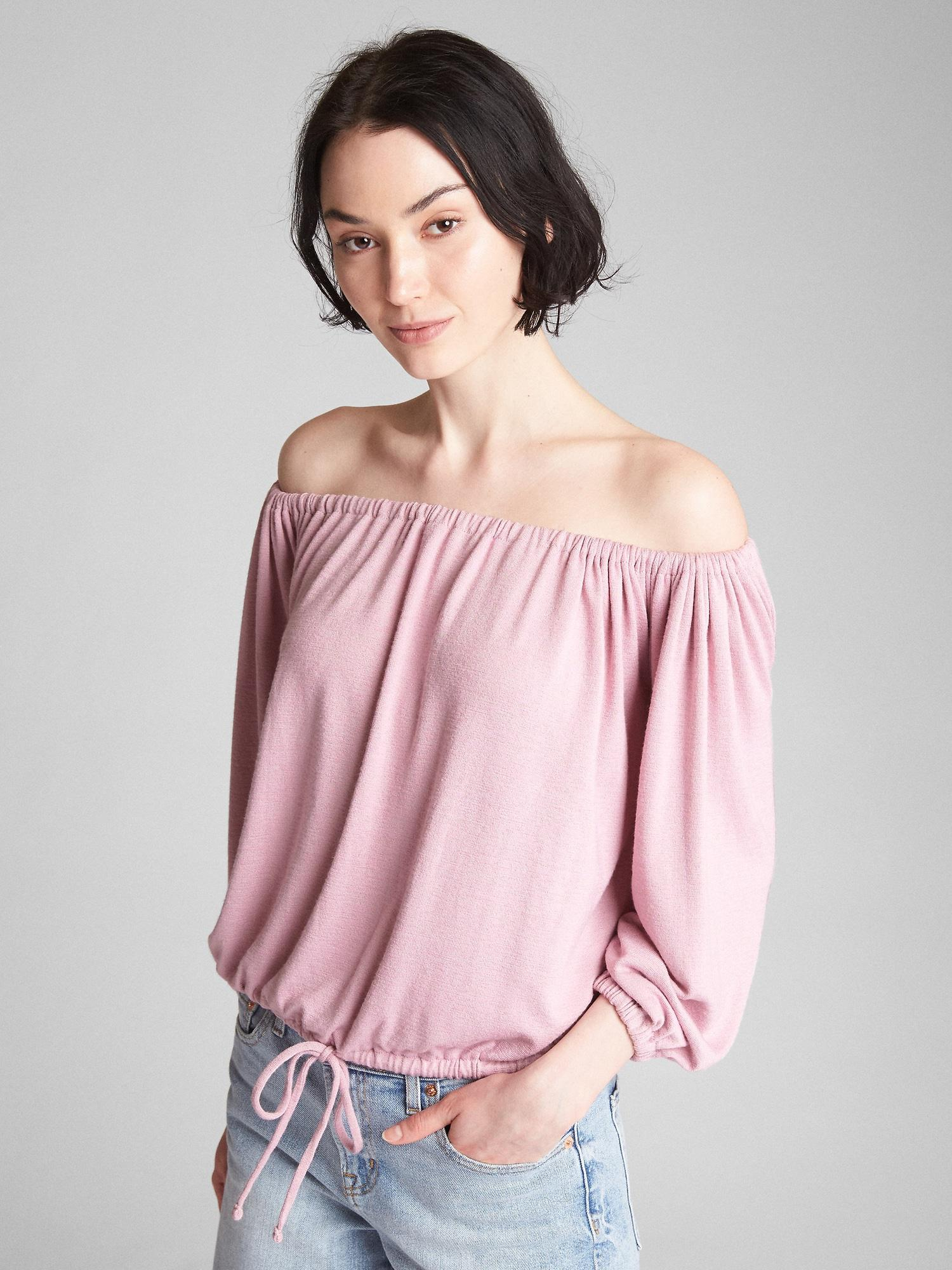 fd27523da2b2b Lyst - Gap Softspun Long Sleeve Off-shoulder Top in Pink