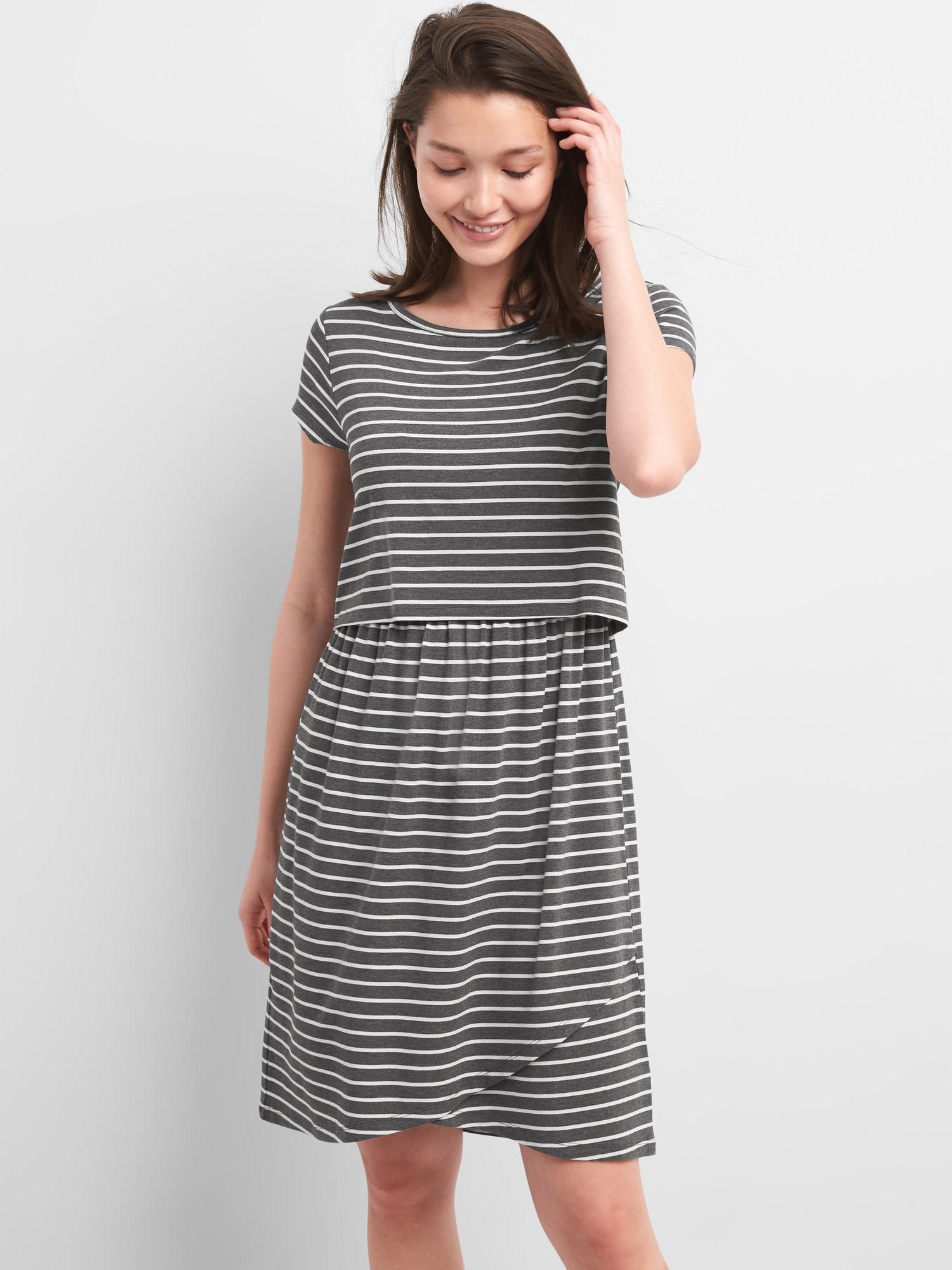 f6ed027e76e72 Gap. Women's Maternity Stripe Layered Nursing T-shirt Dress