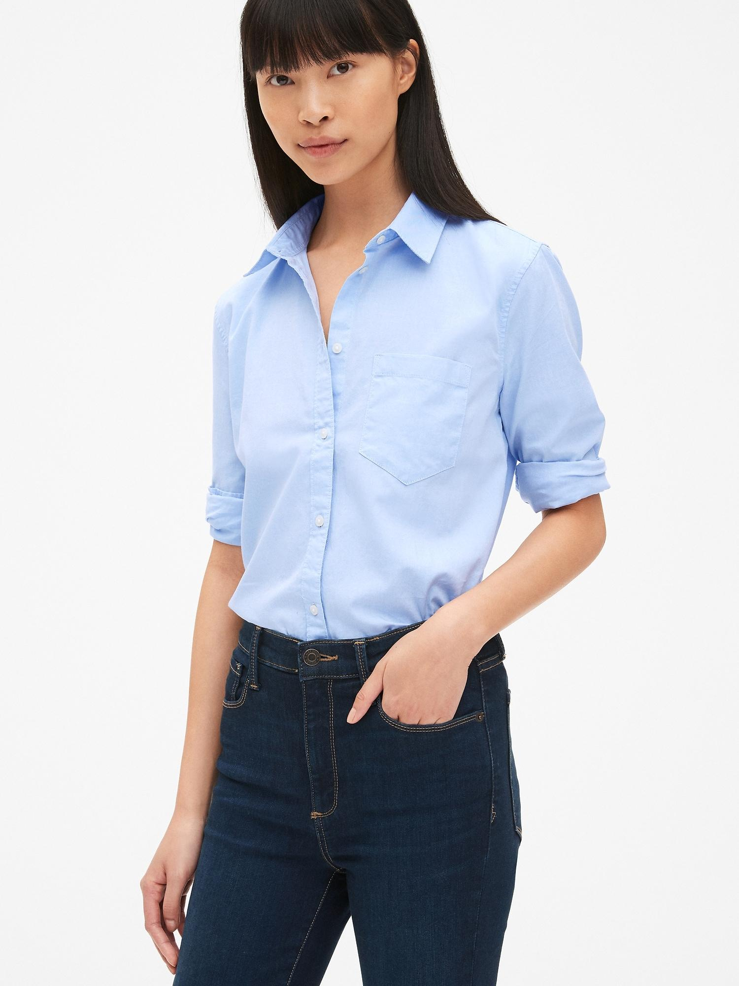 1cca61ff Gap - Blue Fitted Boyfriend Oxford Shirt - Lyst. View fullscreen