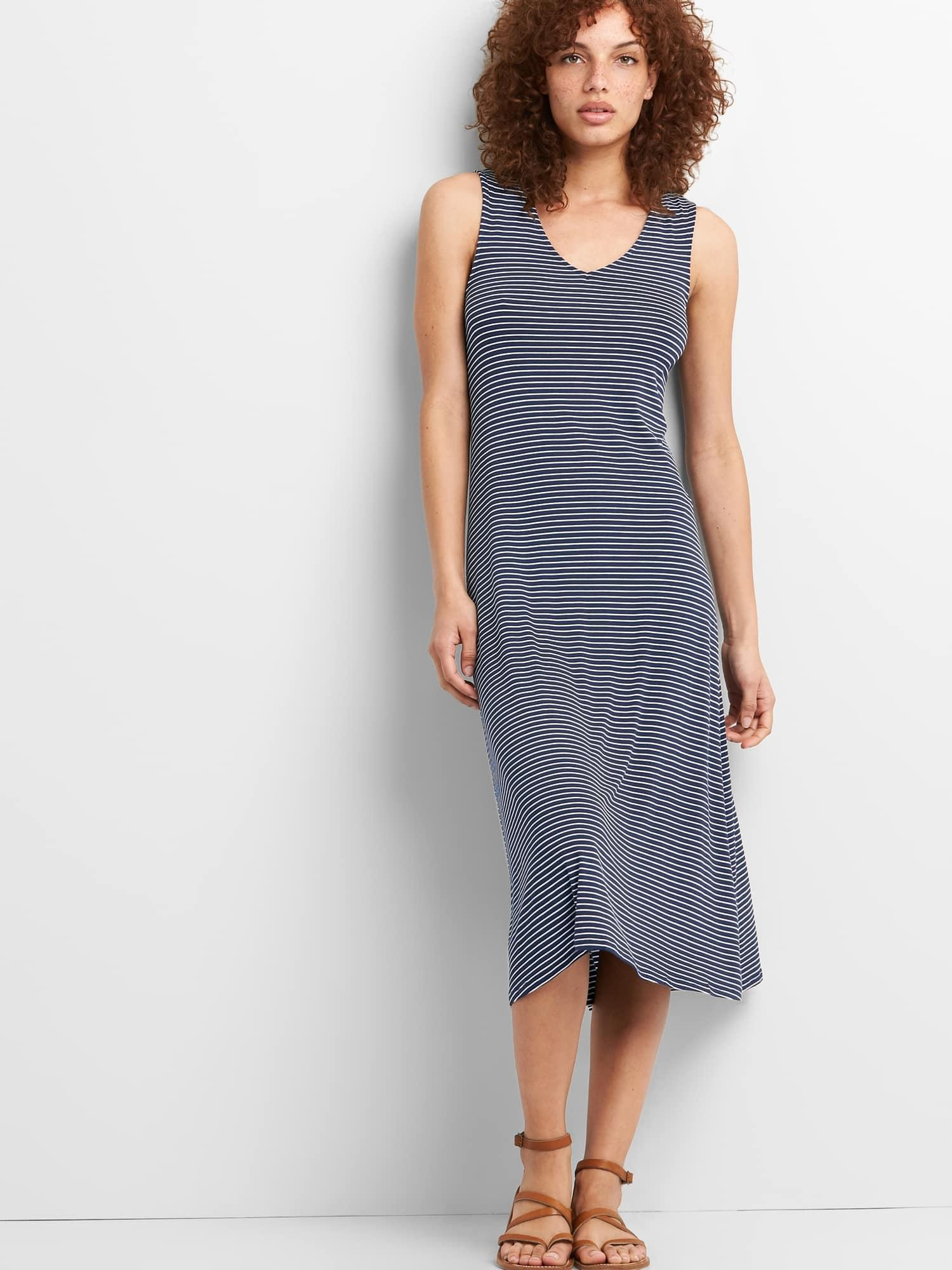 12f42f3946 Gap Sleeveless Knit Midi Dress in Blue - Lyst