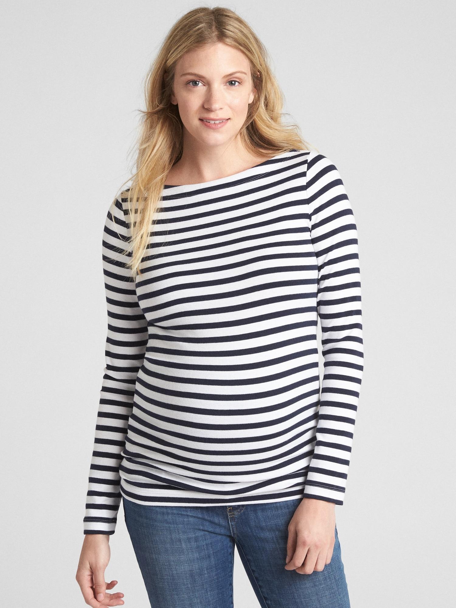 266ee29b531f6 Lyst - Gap Maternity Modern Stripe Boatneck T-shirt in Blue