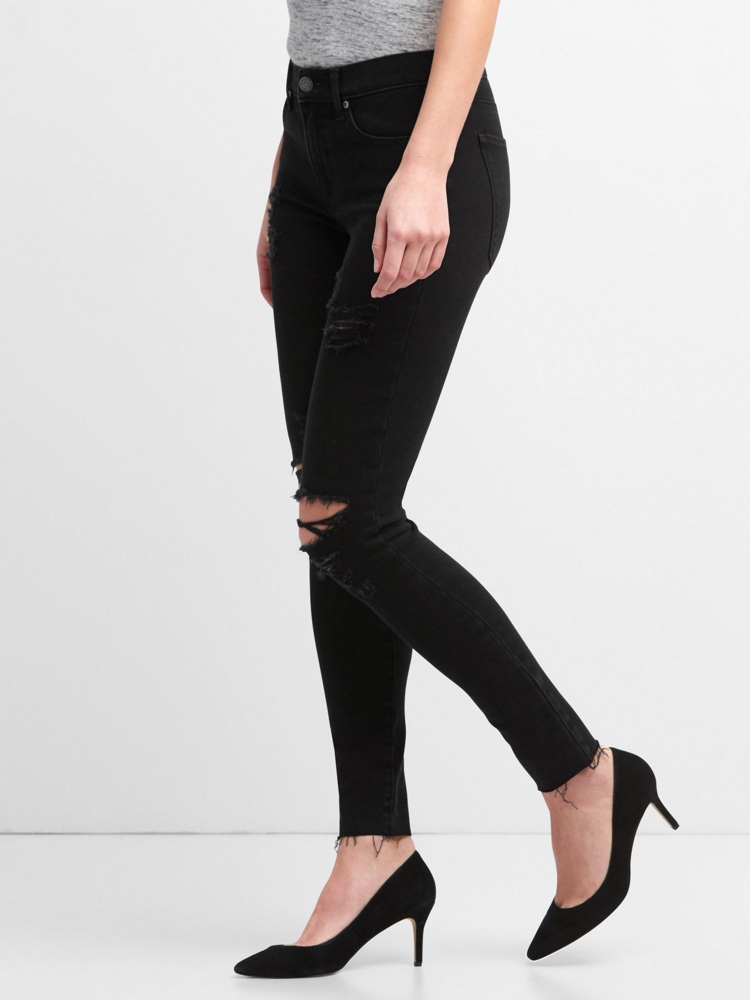 6ae1a910a3 Gap Washwell Mid Rise True Skinny Ankle Jeans In 360 Stretch in Black - Lyst