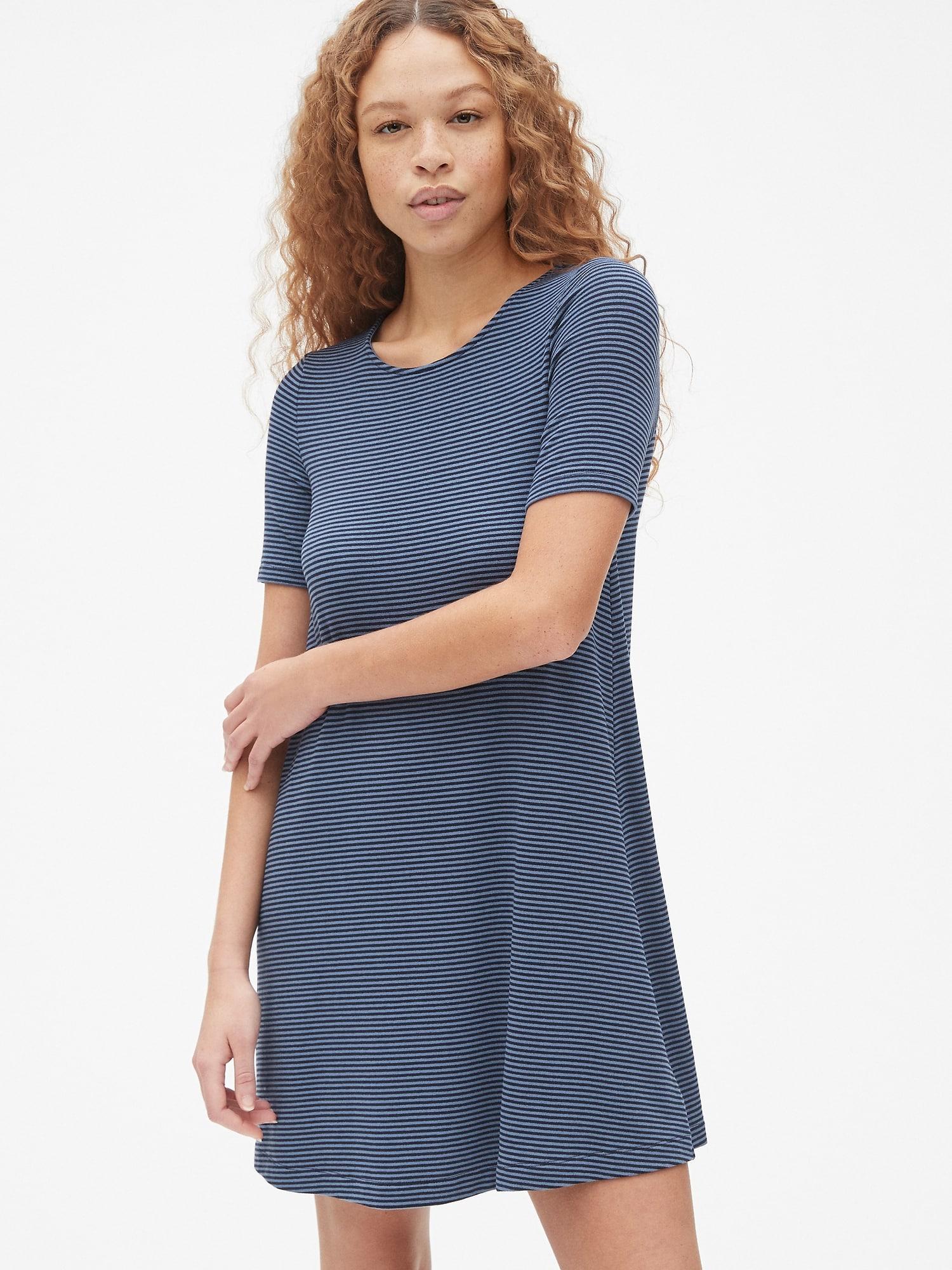 54c7a9964715 Lyst - Gap Softspun Stripe Short Sleeve Swing Dress in Blue