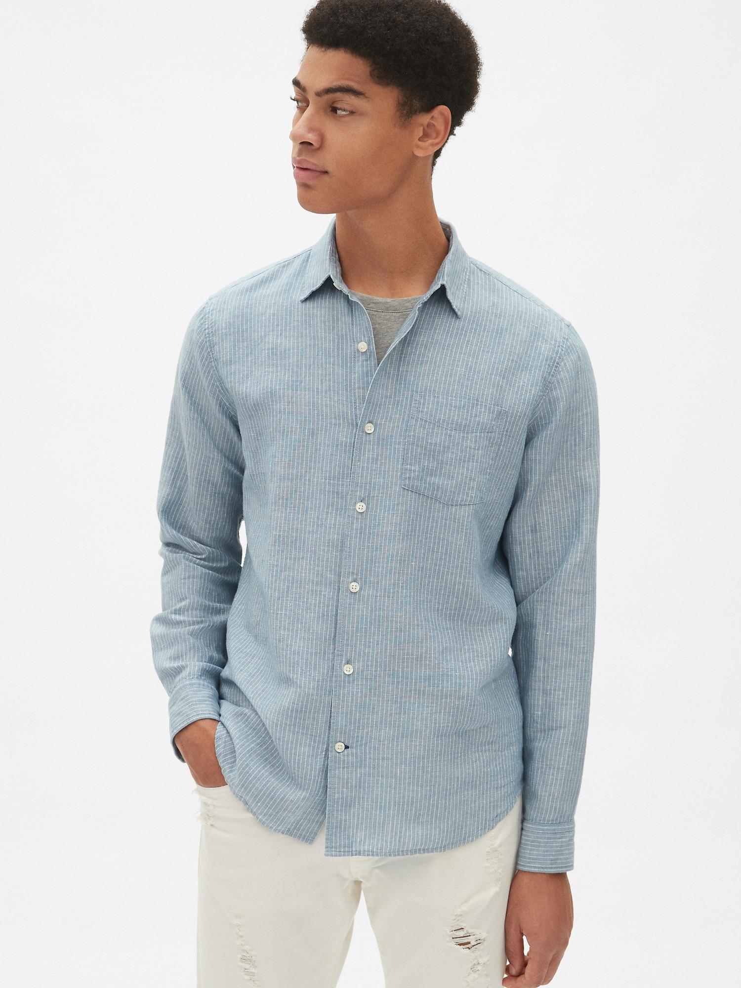 5367280ac3f Lyst - Gap Standard Fit Shirt In Linen-cotton in Blue for Men