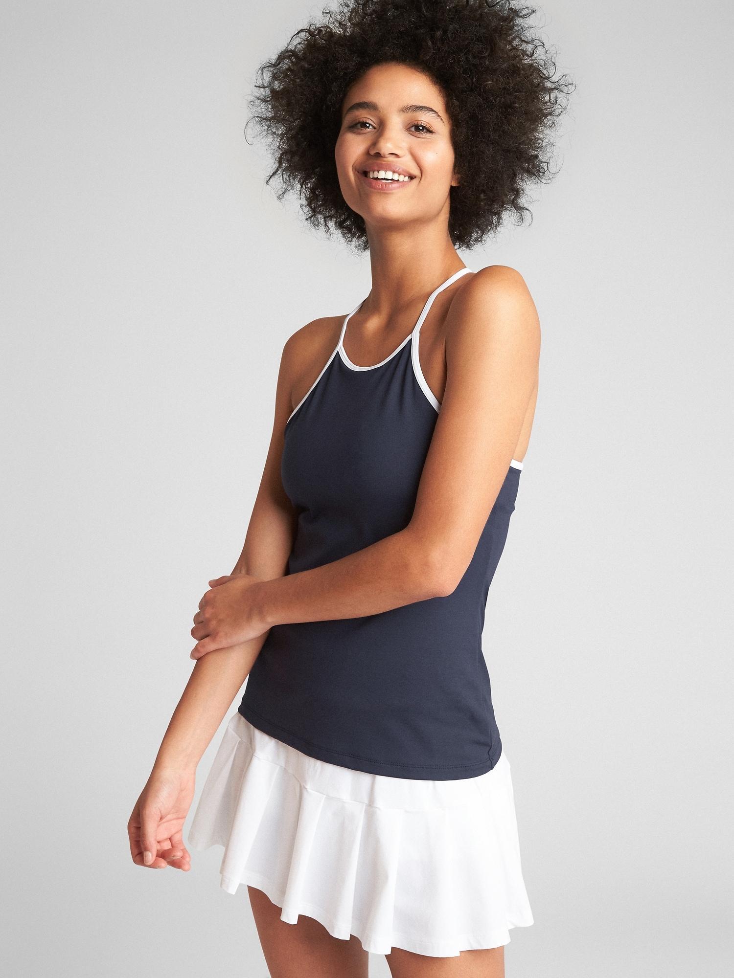 671353035599c Lyst - Gap Fit High-neck Tennis Shelf Tank Top in Blue