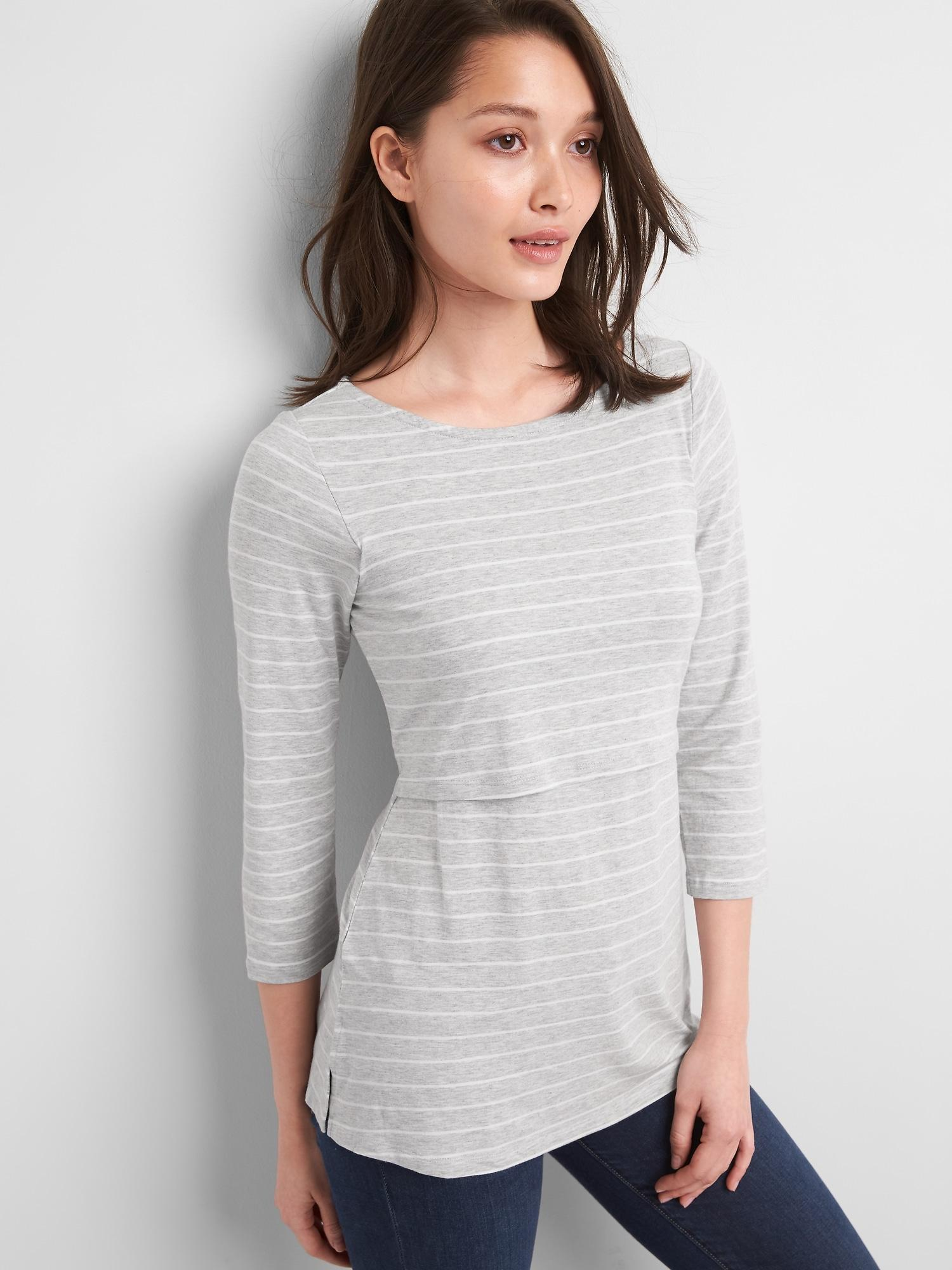Lyst - Gap Maternity Stripe Layer Nursing T-shirt in Gray fc268dddc