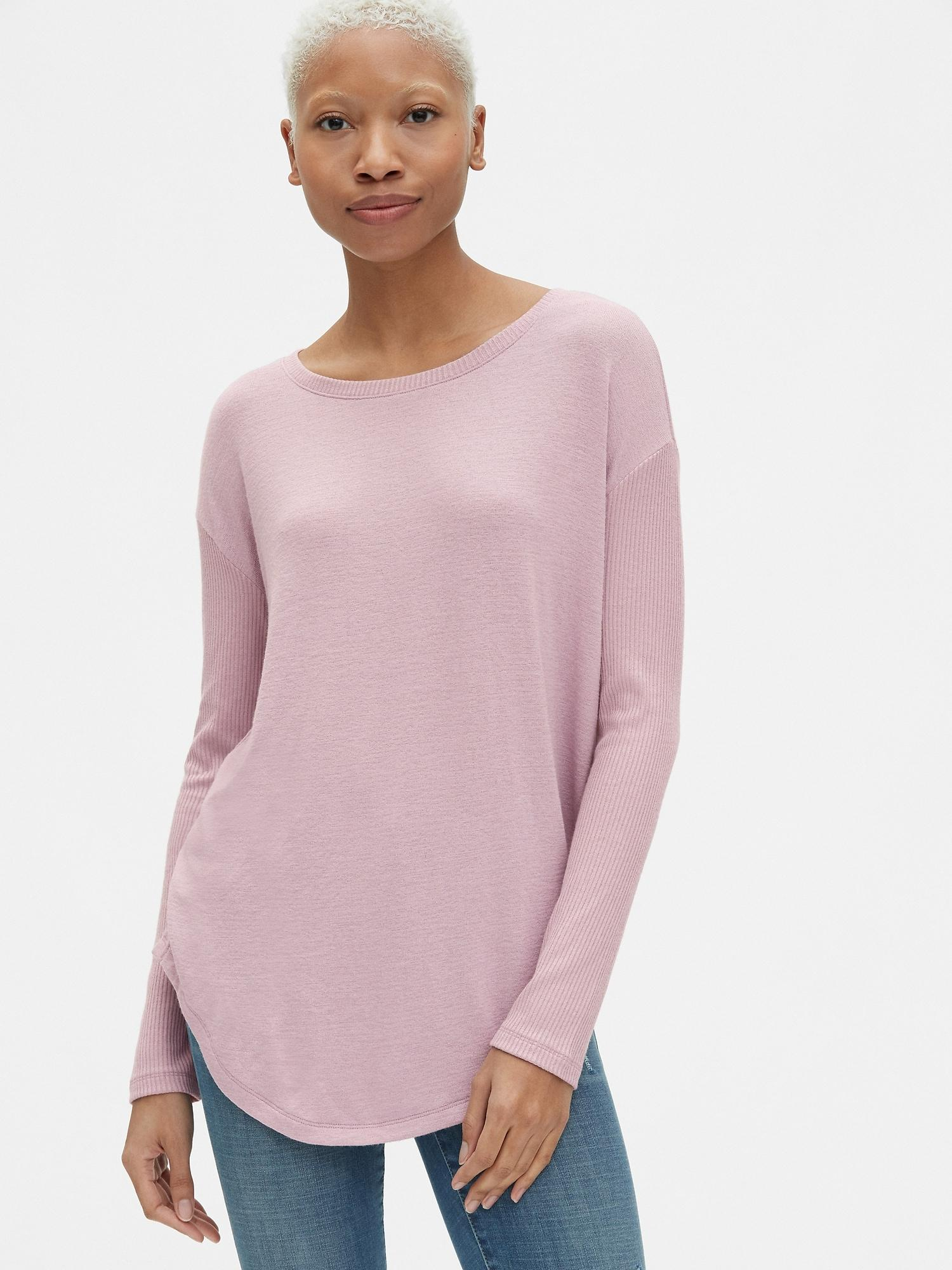 d0372586d560b Lyst - Gap Softspun Mix-fabric Long Sleeve Tunic Top in Purple