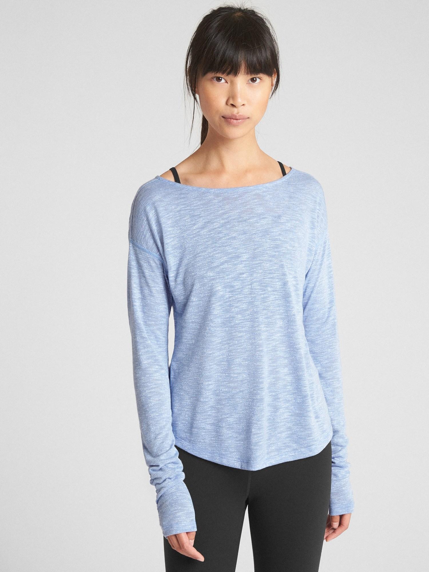 92d461fe9a509 Gap Fit Long Sleeve Cross-back T-shirt in Blue - Lyst