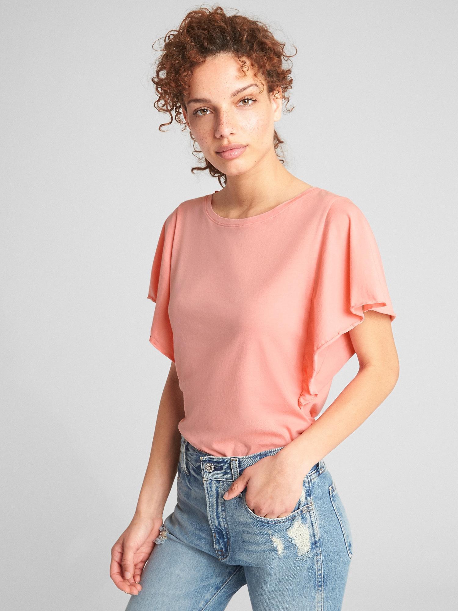 f43dd520ebf996 Lyst - Gap Vintage Wash Flutter Sleeve T-shirt