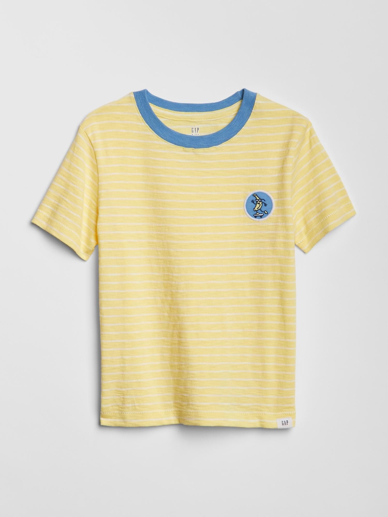 0d476505a9 Gap - Yellow Stripe Graphic Short Sleeve T-shirt for Men - Lyst. View  fullscreen
