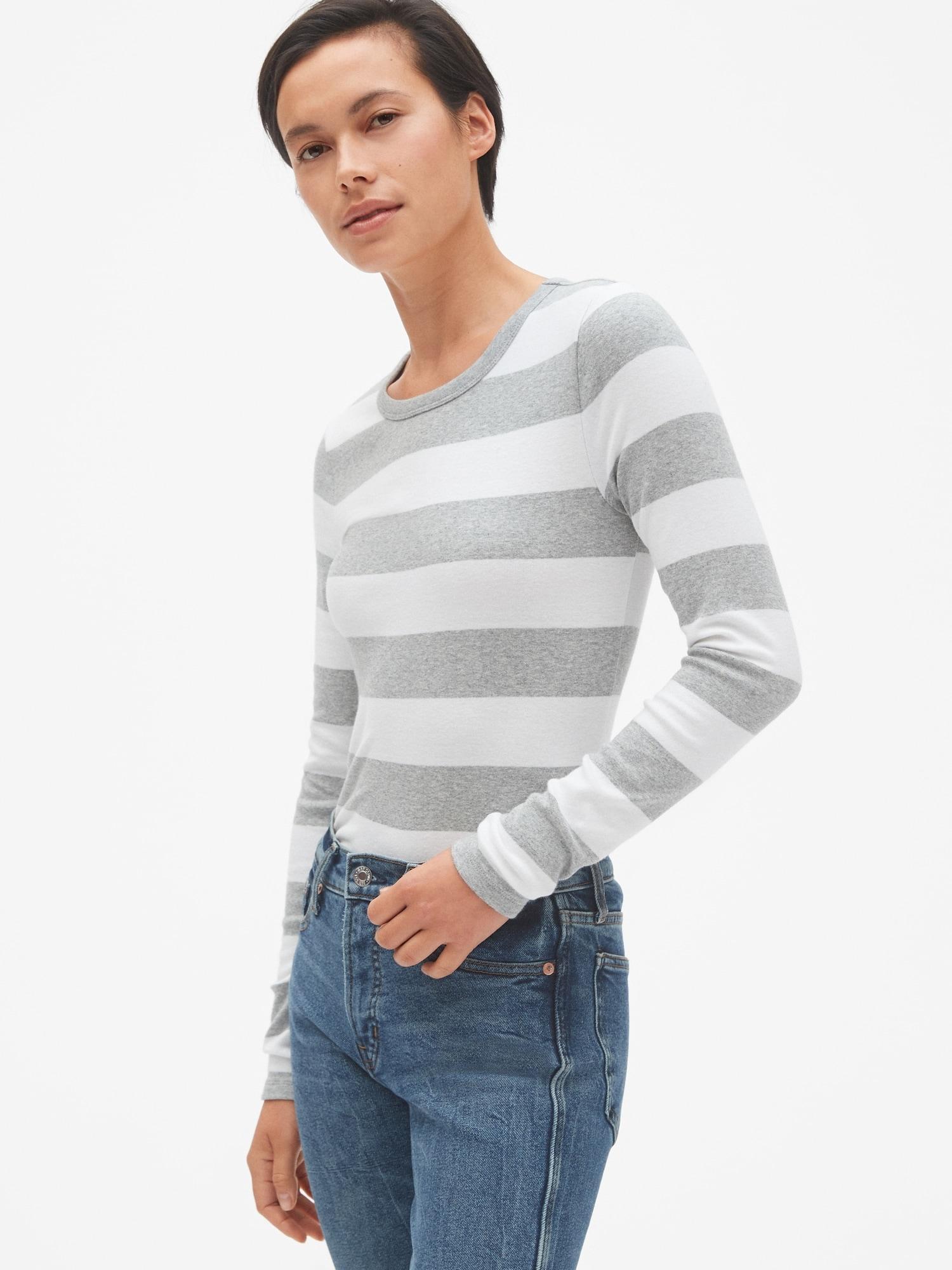 b1120188 Lyst - Gap Modern Stripe Long Sleeve Crewneck T-shirt in Gray