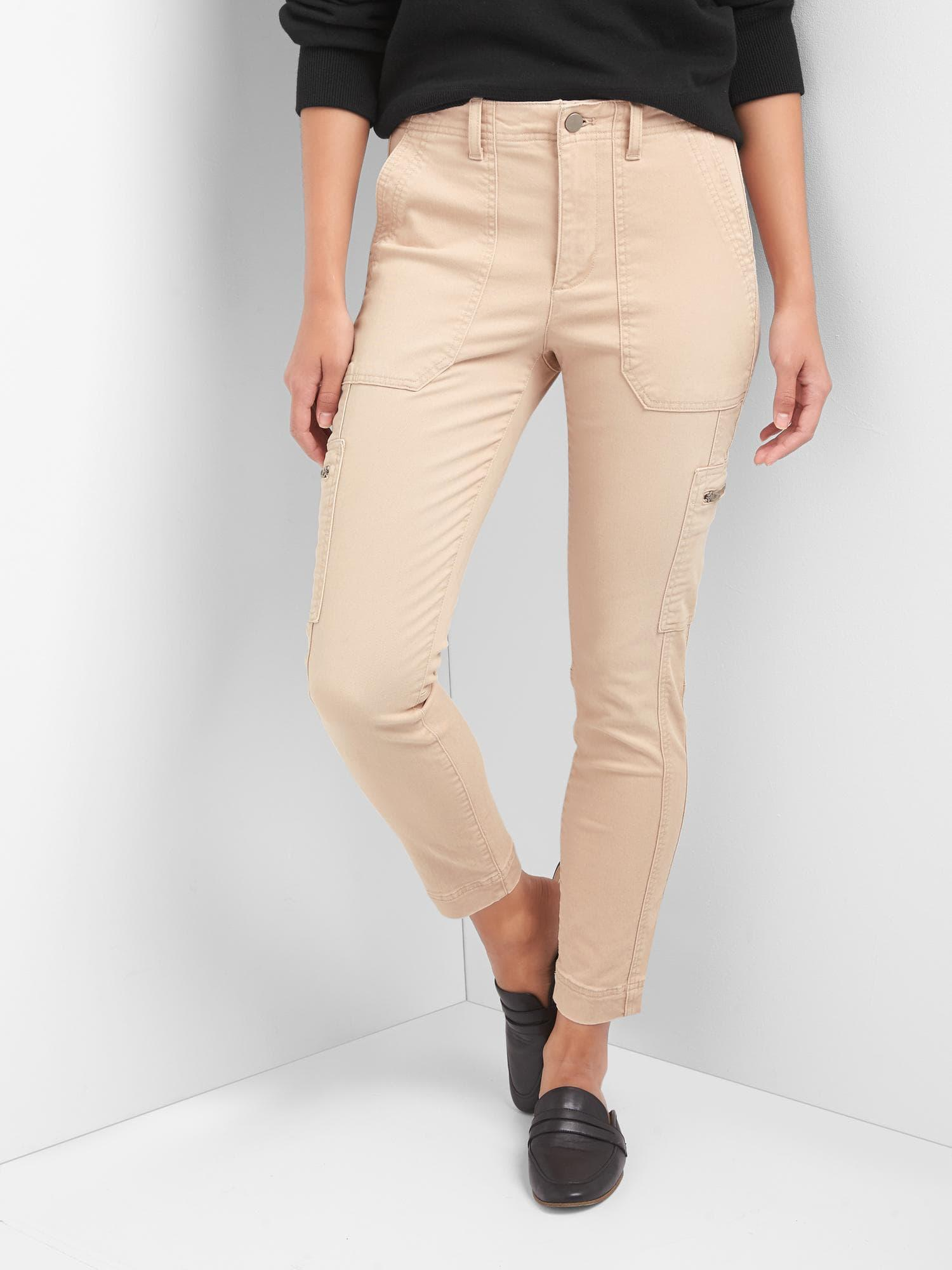 Lyst - Gap High Rise Skinny Ankle Utility Chinos in Natural 3ebd4ff44
