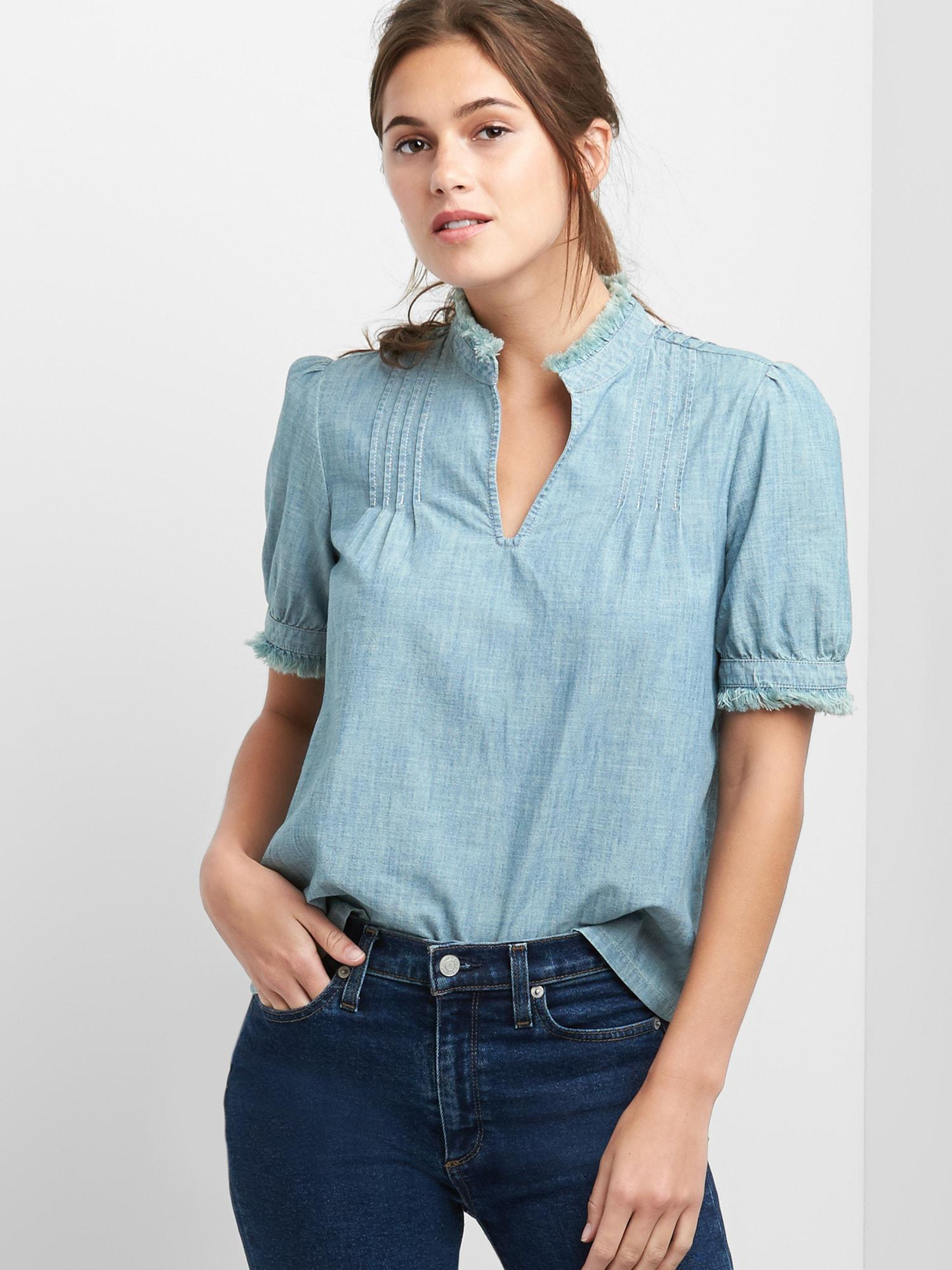 a9e76cab1b5cf Lyst - Gap Short Sleeve Pintuck Top In Chambray in Blue