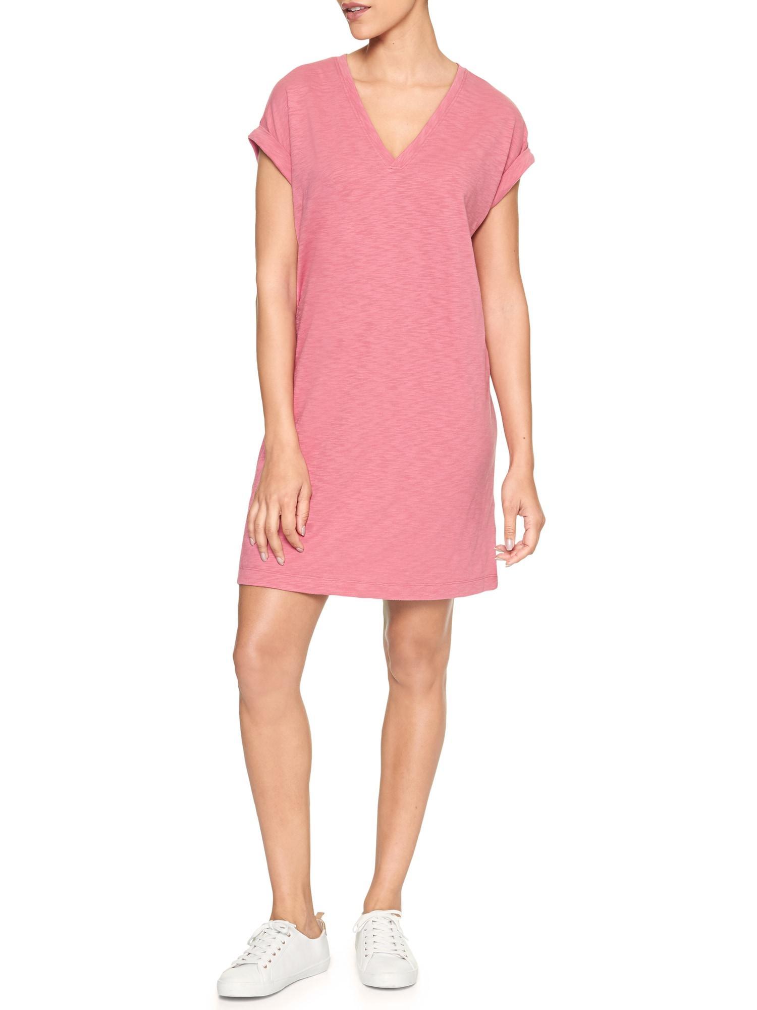 25d3c0de40b0 Lyst - GAP Factory Roll Sleeve Slub T-shirt Dress in Pink