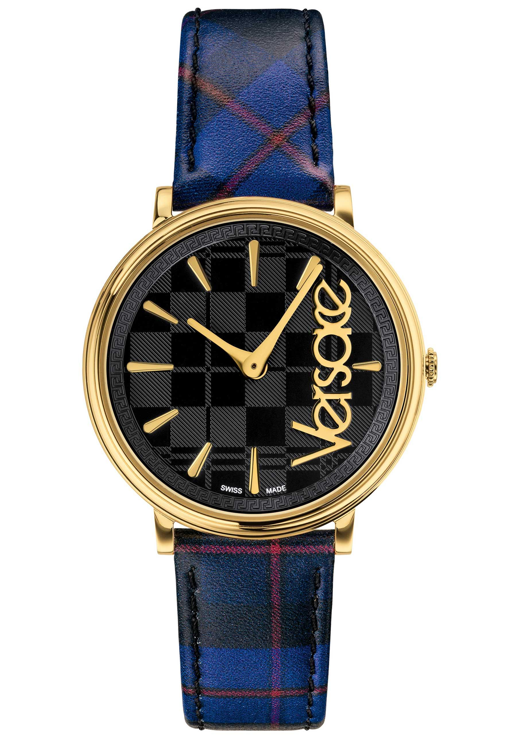 cde2d67185 Versace - Metallic V Circle Clans Edition Leather Strap Watch - Lyst. View  fullscreen
