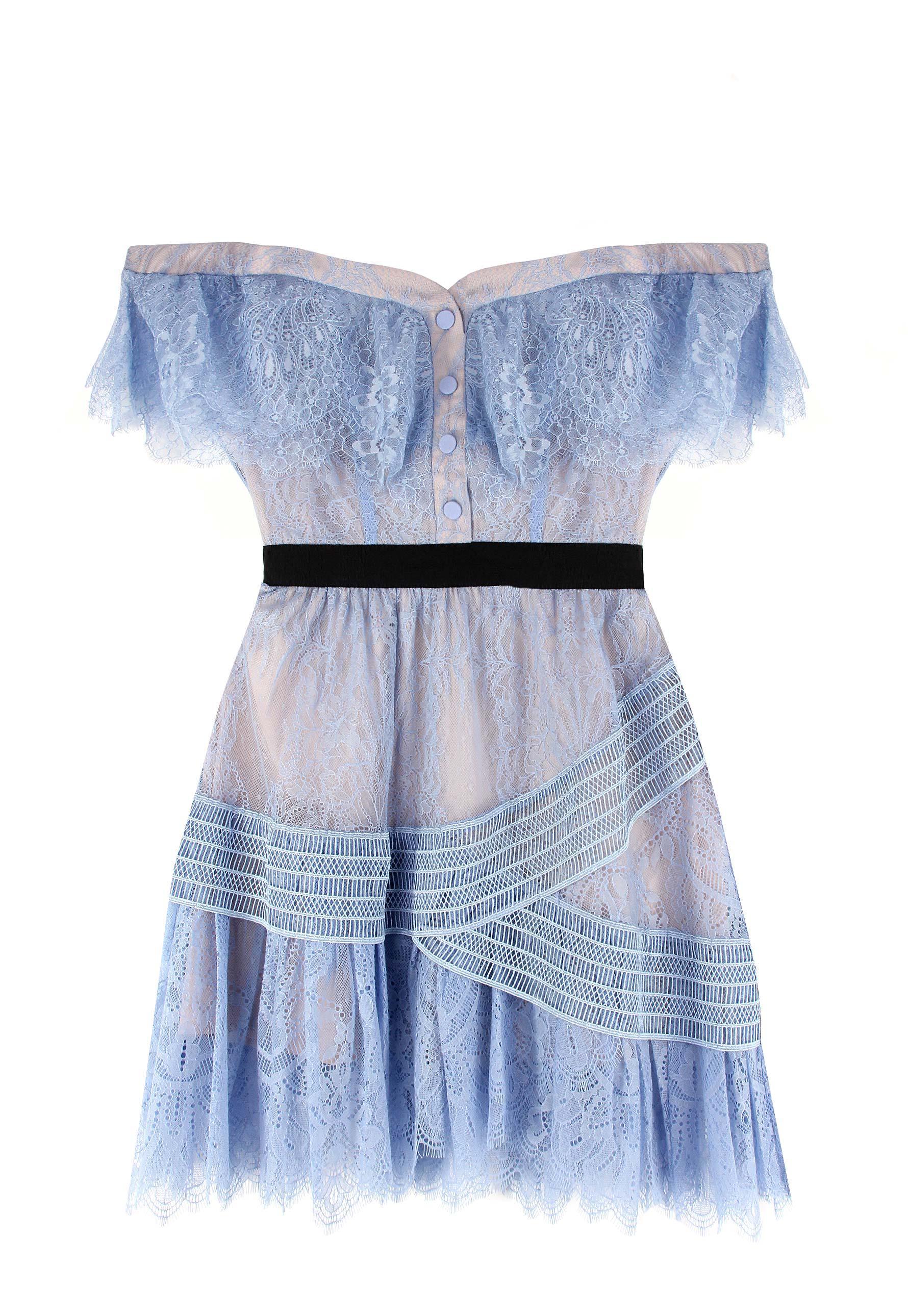 1ce81614a207 Self-Portrait Off Shoulder Fine Lace Mini Dress Blue in Blue - Lyst