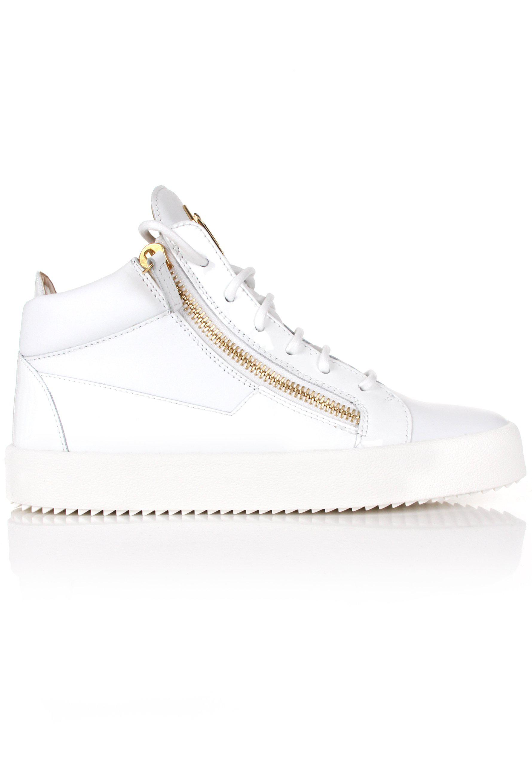 ca8e60f7e0da9 Giuseppe Zanotti - Kriss Mix Leather Logo Mid-top Sneakers White for Men -  Lyst