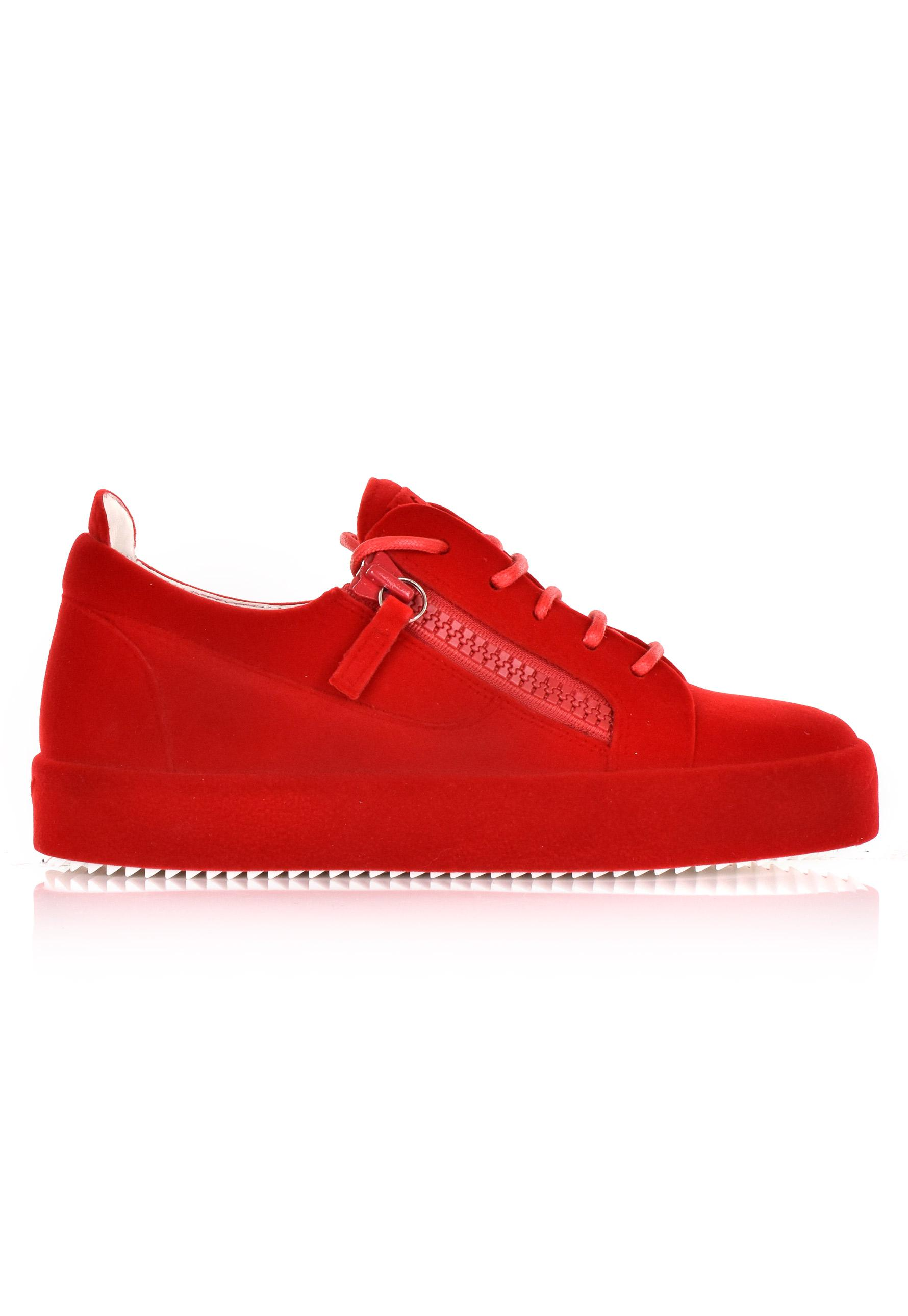 93536fe5be4 Lyst - Giuseppe Zanotti Women s Lace Up Flocked Sneakers Red in Red ...
