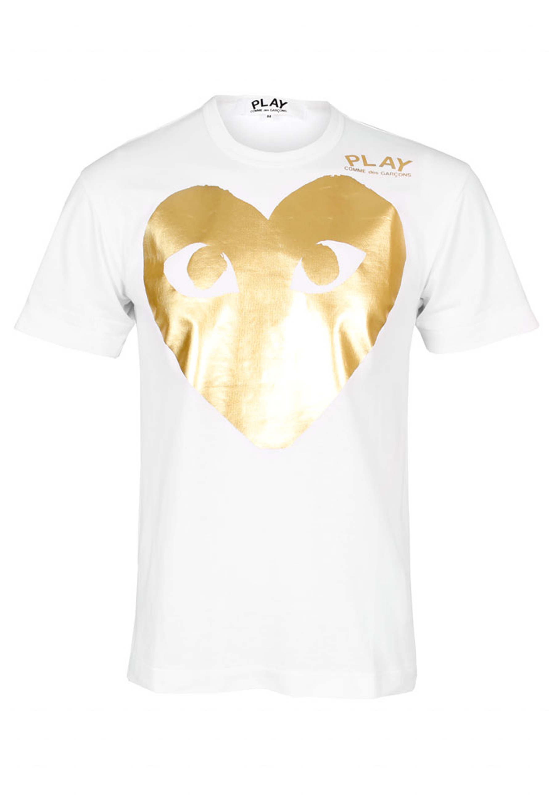 a4889ddf8 Play Comme des Garçons Mens Large Gold Foil Heart T-shirt White in ...