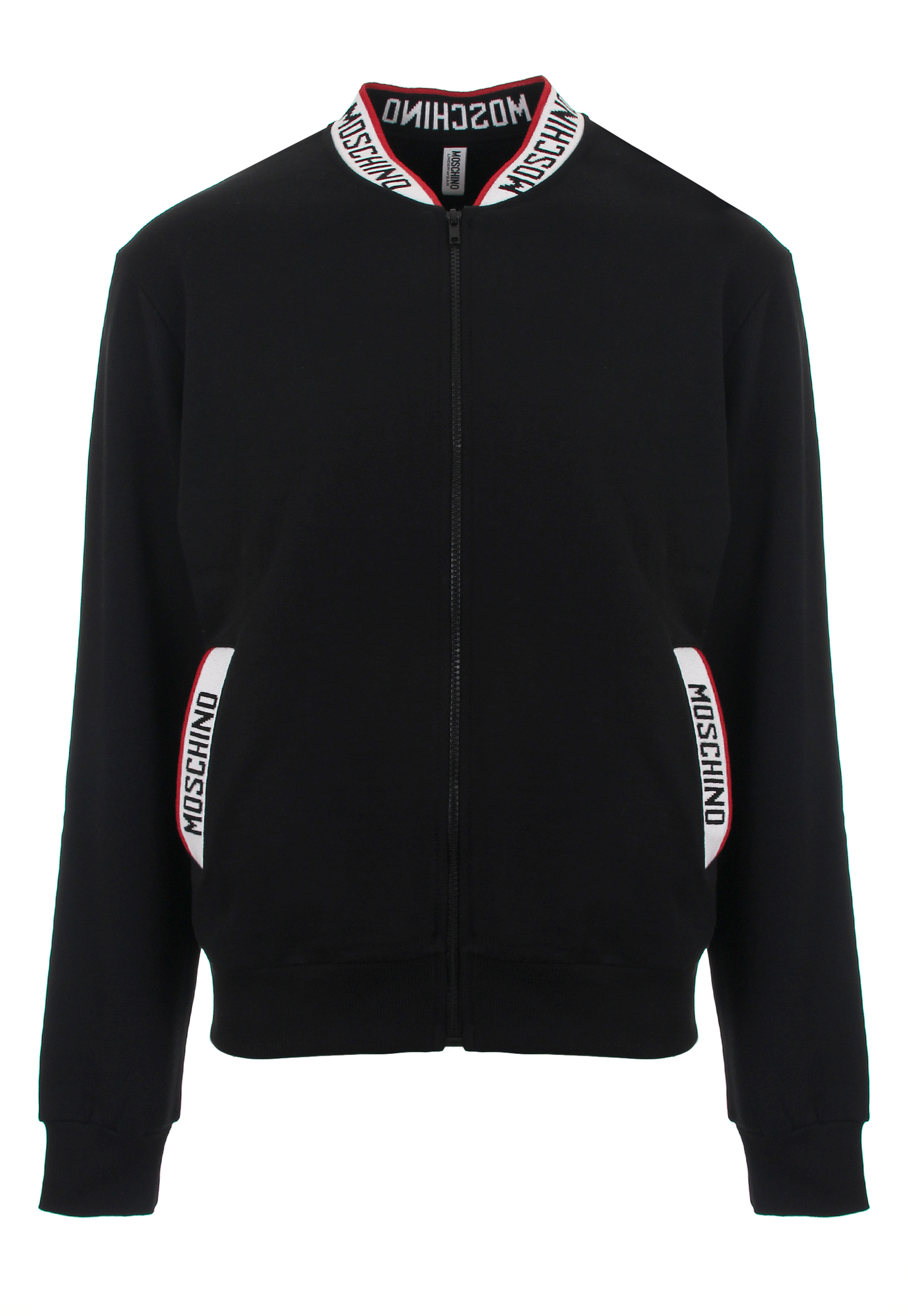 moschino mens logo tape zip jacket black in black for men