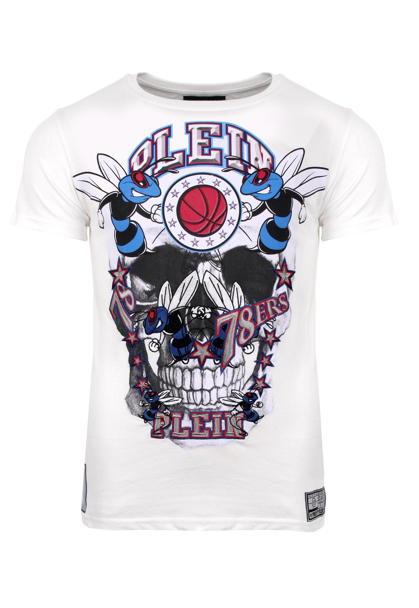 philipp plein cadet round neck t shirt white in white for men lyst. Black Bedroom Furniture Sets. Home Design Ideas
