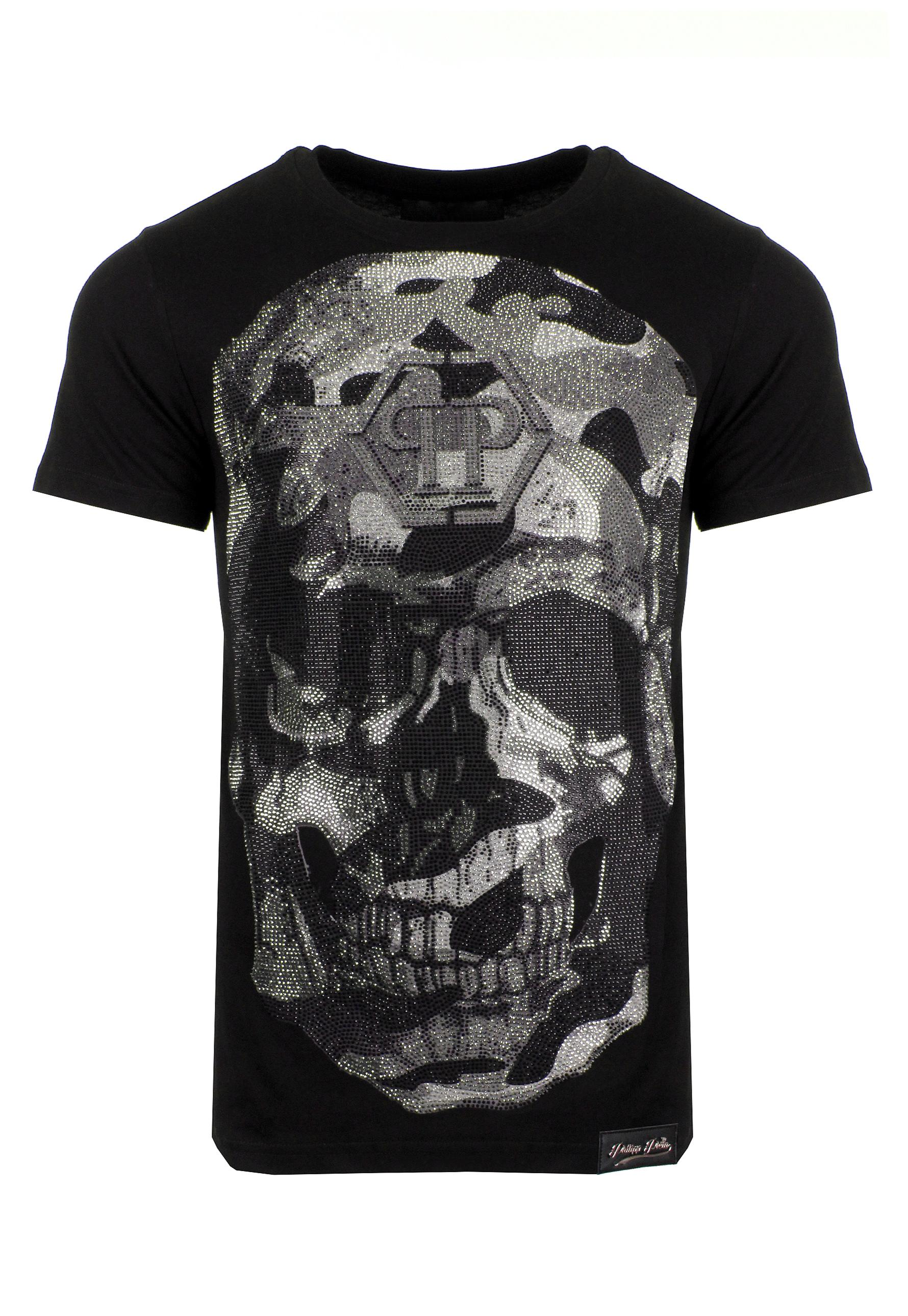 lyst philipp plein printed cotton t shirt in black for men. Black Bedroom Furniture Sets. Home Design Ideas