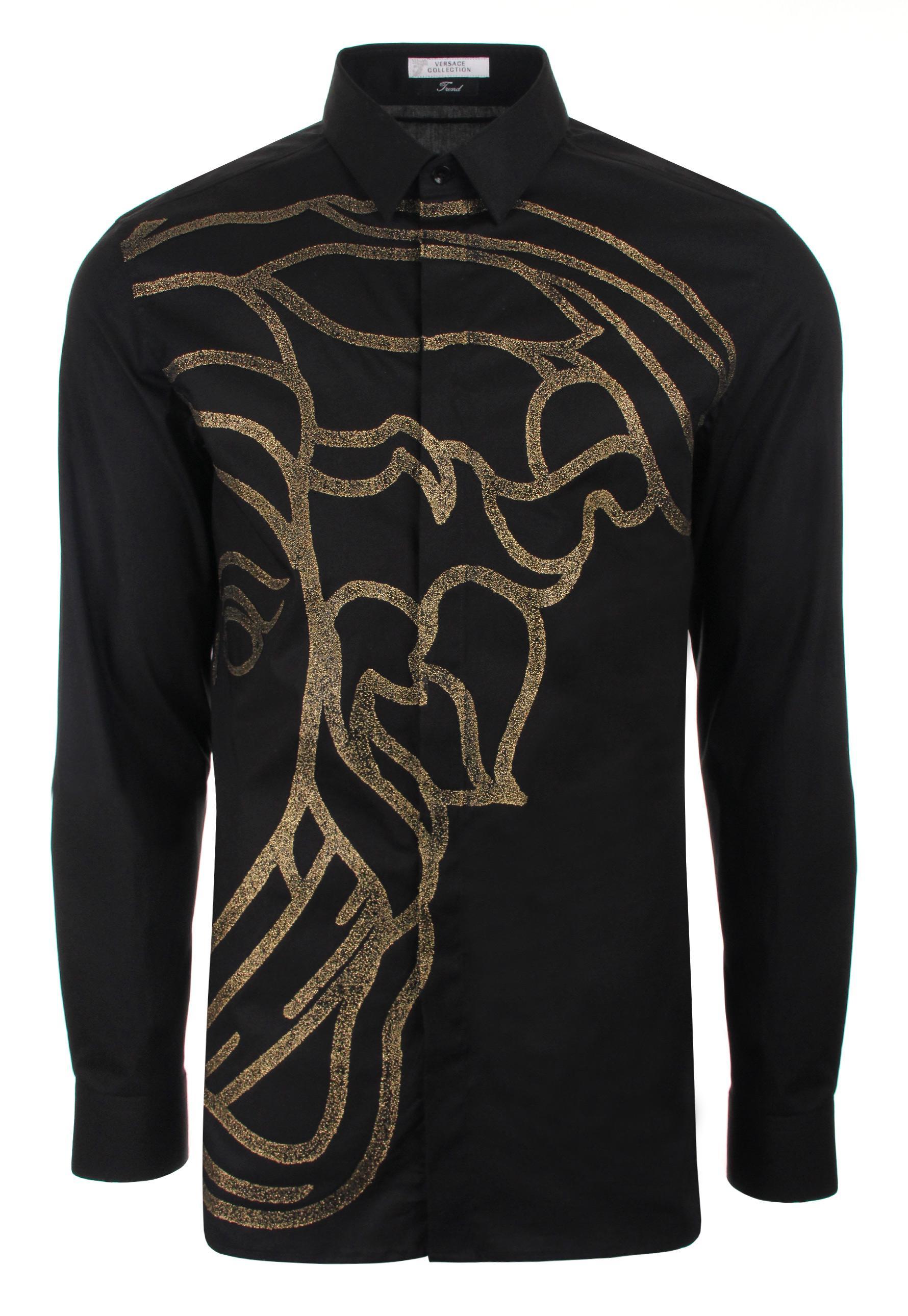 Lyst - Versace Caviar Print Medusa Head Shirt Black/gold ...