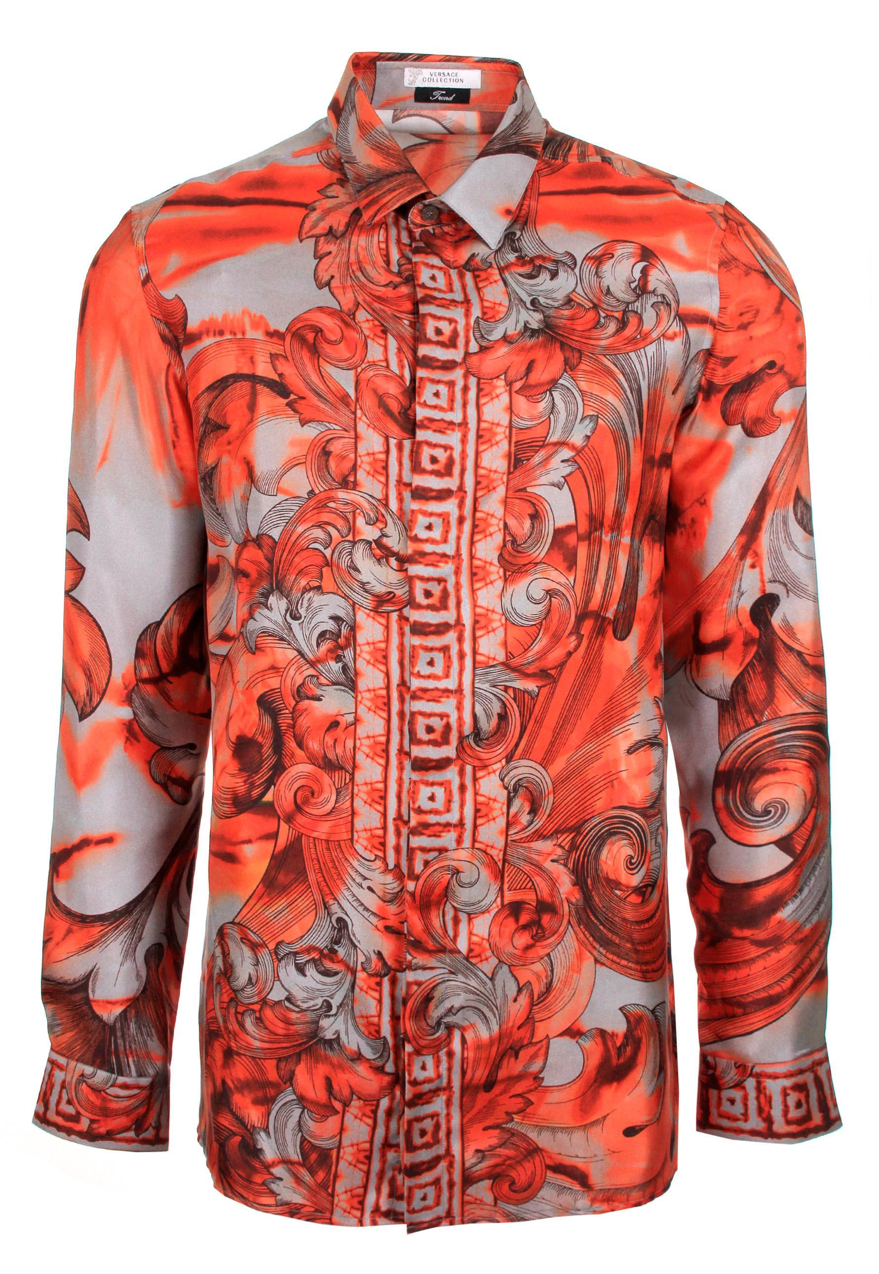 c434ca8f Versace Tie And Dye Baroque Hand Painted Silk Shirt Orange in Orange ...