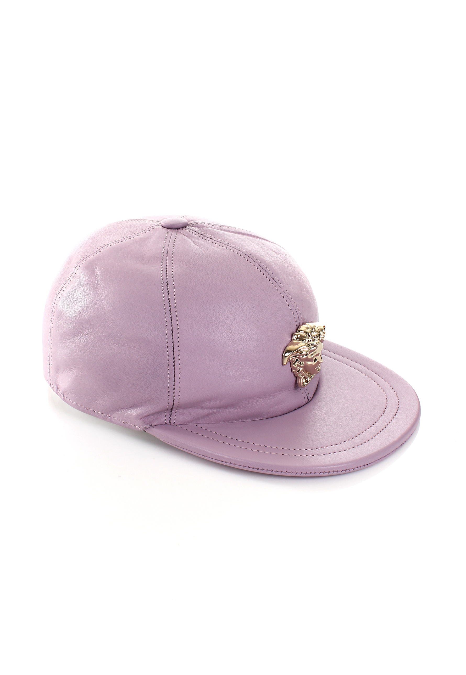 b81bd944f86 Versace Gold Medusa Leather Cap Pink in Pink - Lyst