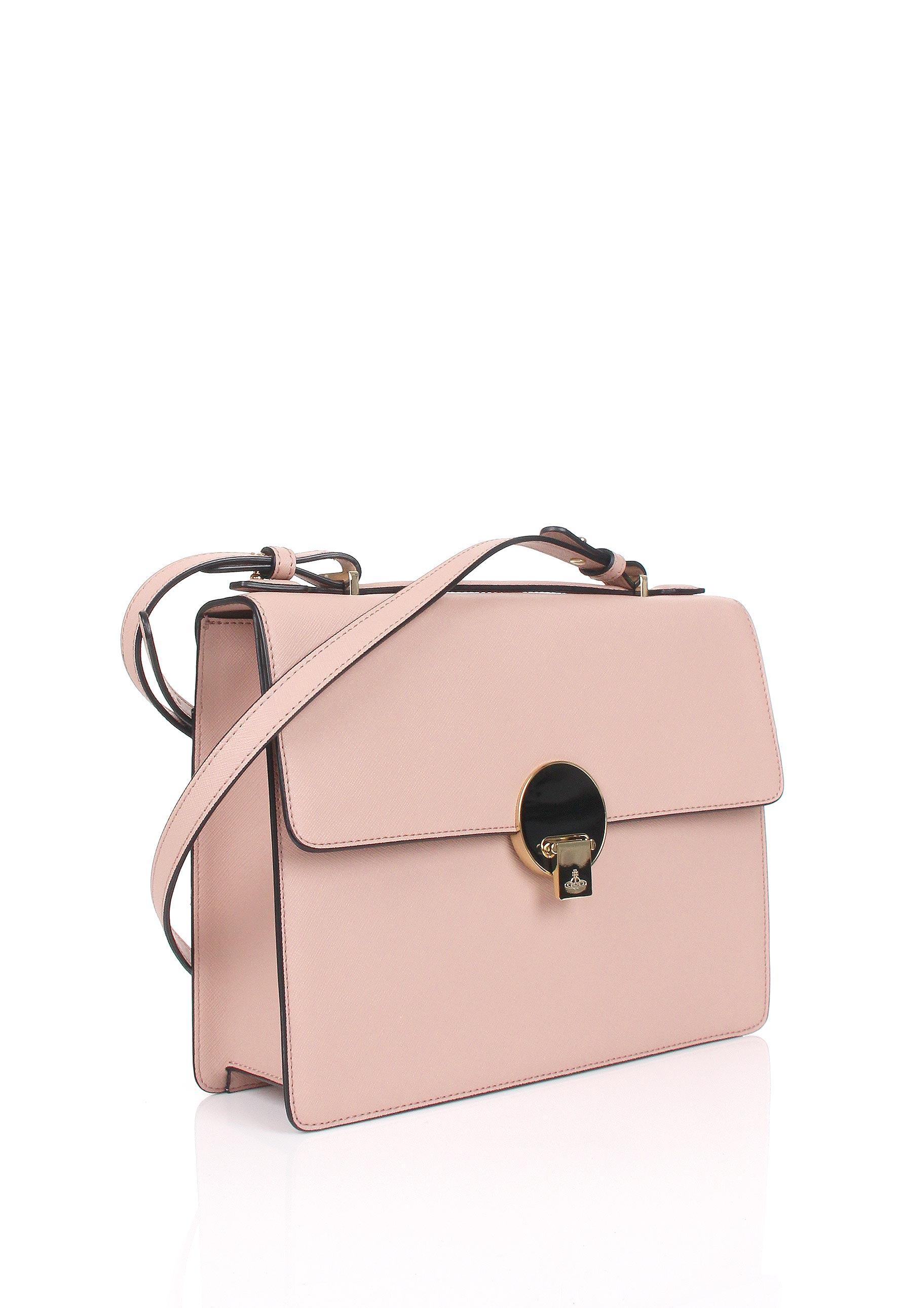 a27b97941e Vivienne Westwood Opio Saffiano 131130 Medium Shoulder Bag Pink in ...